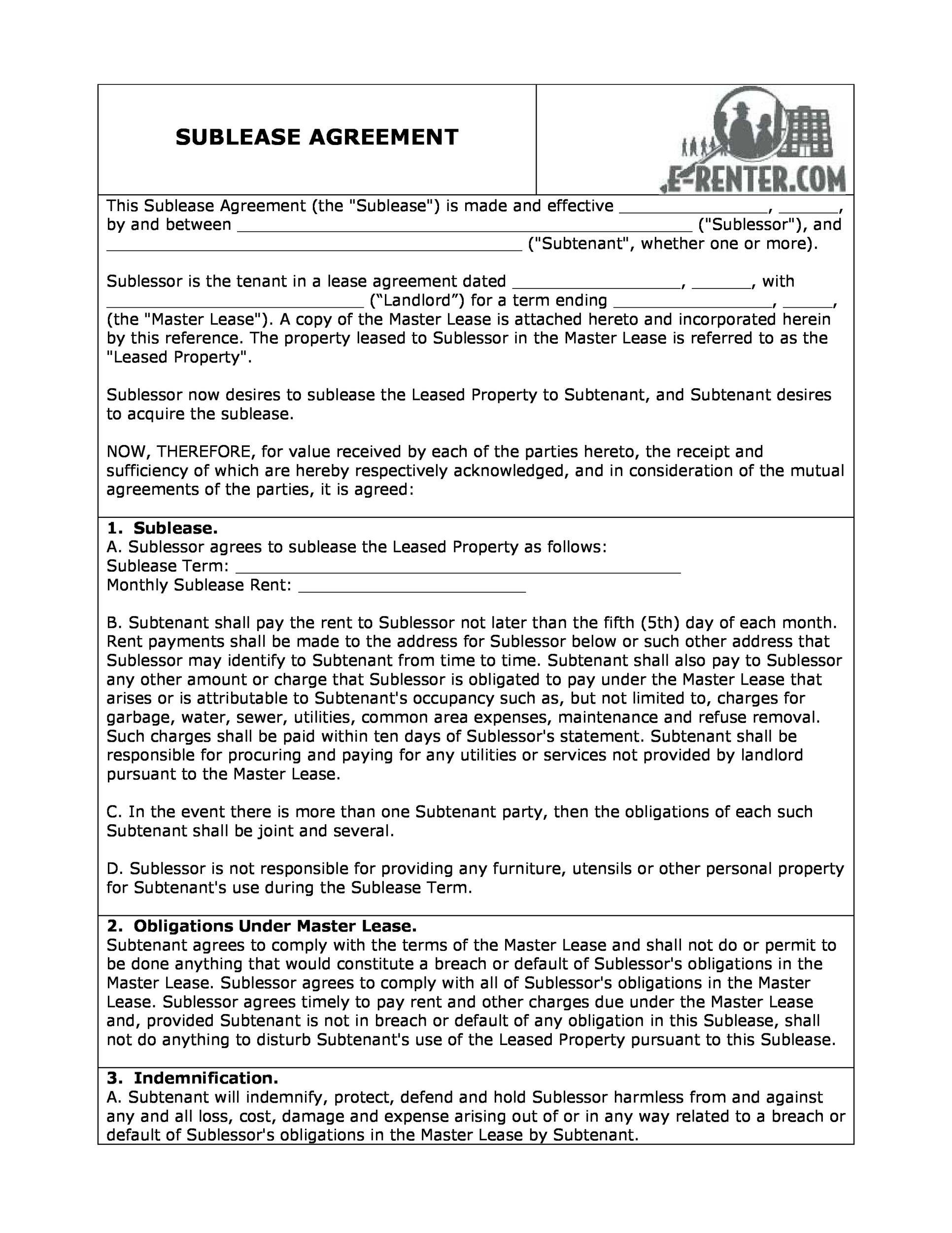 Free Sublease Agreement Template 29