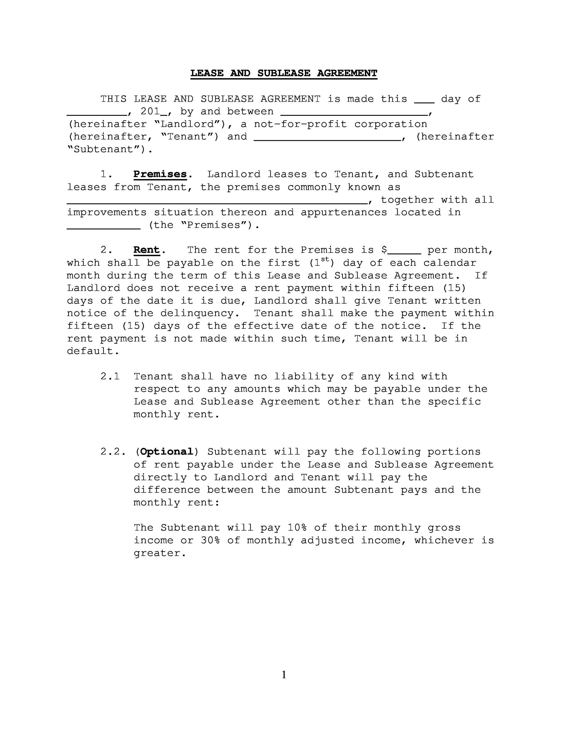 Free Sublease Agreement Template 33 Printable