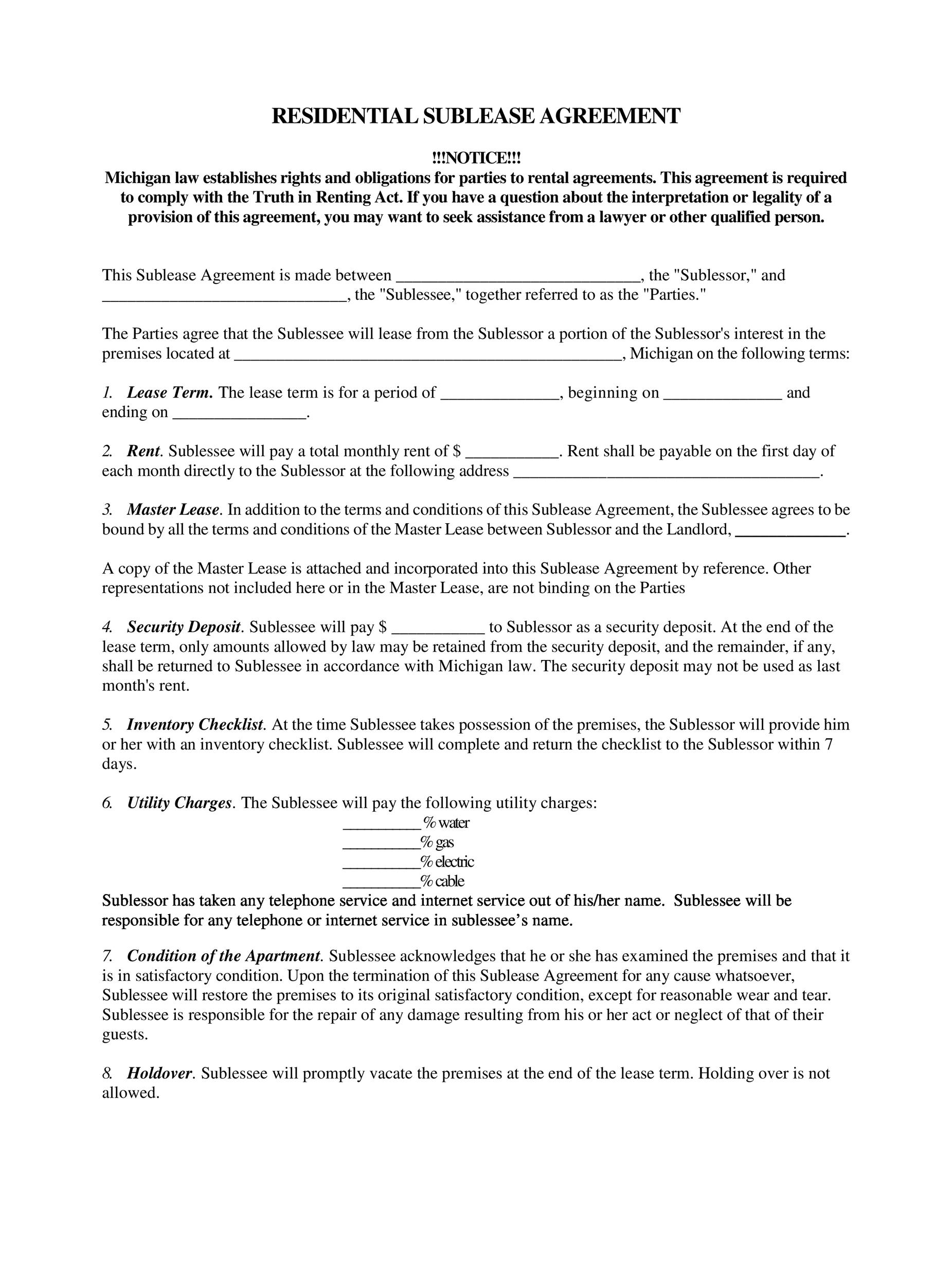 Free Sublease Agreement Template 34