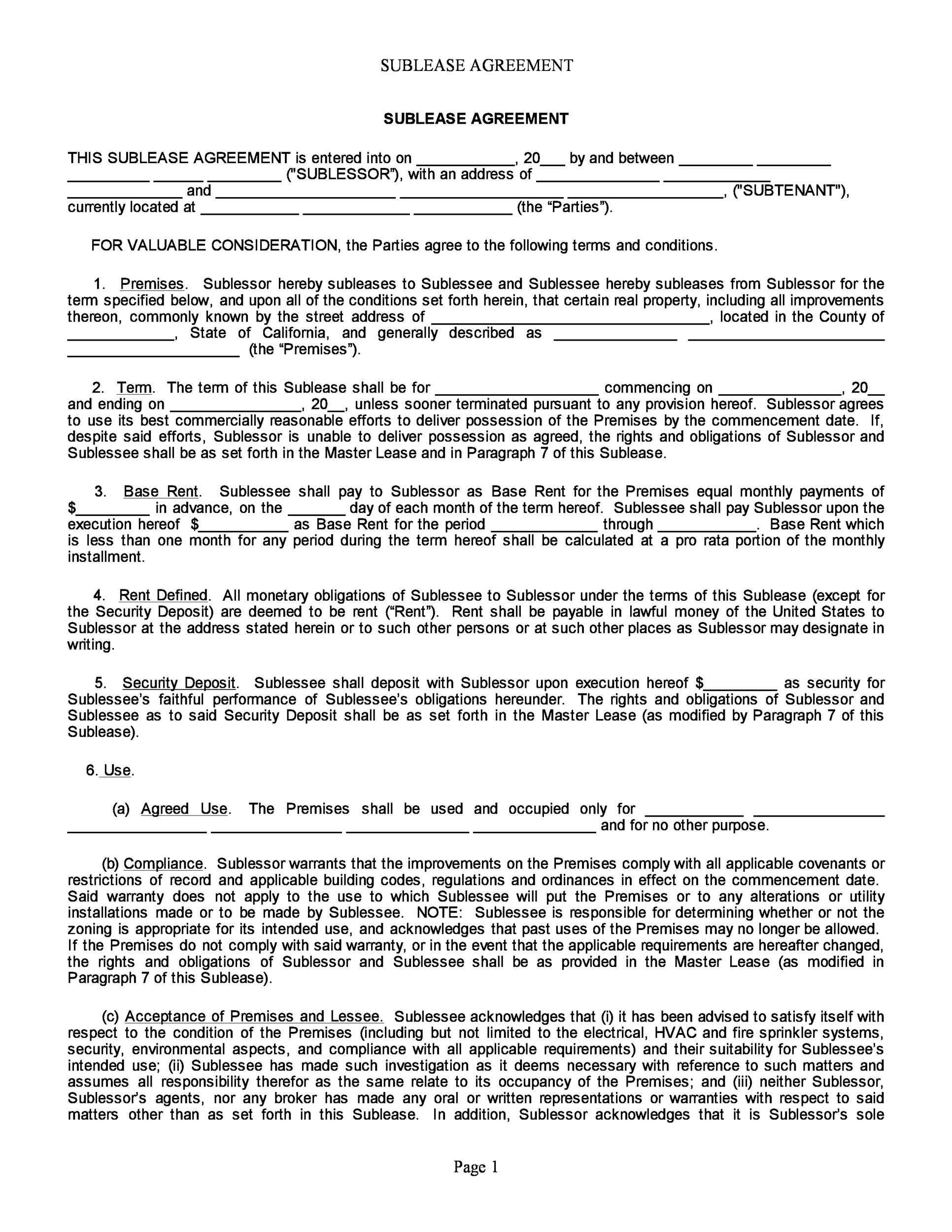 Free Sublease Agreement Template 36 Printable