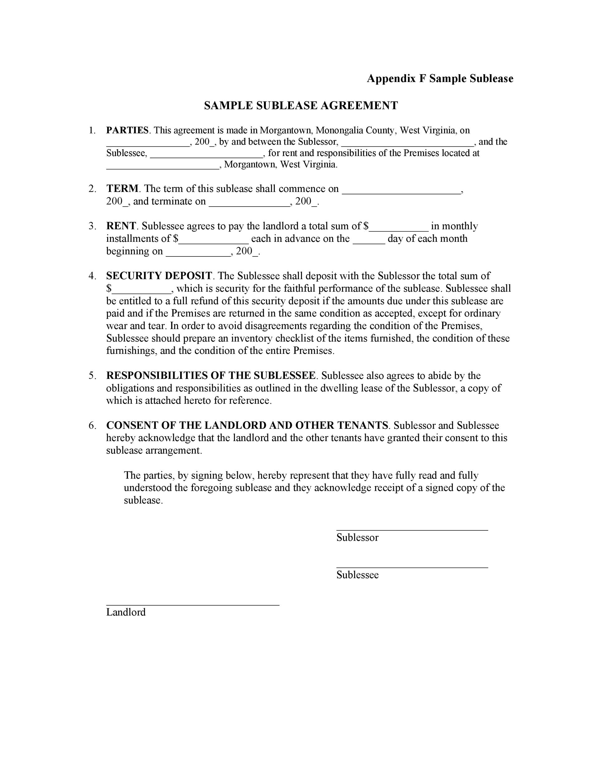 Free Sublease Agreement Template 40 Printable