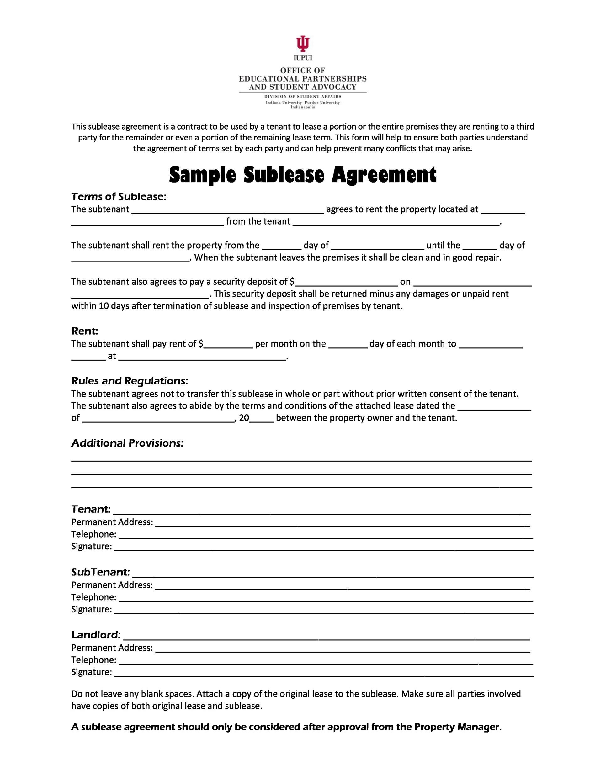Sublease agreement florida for Subletting lease agreement template