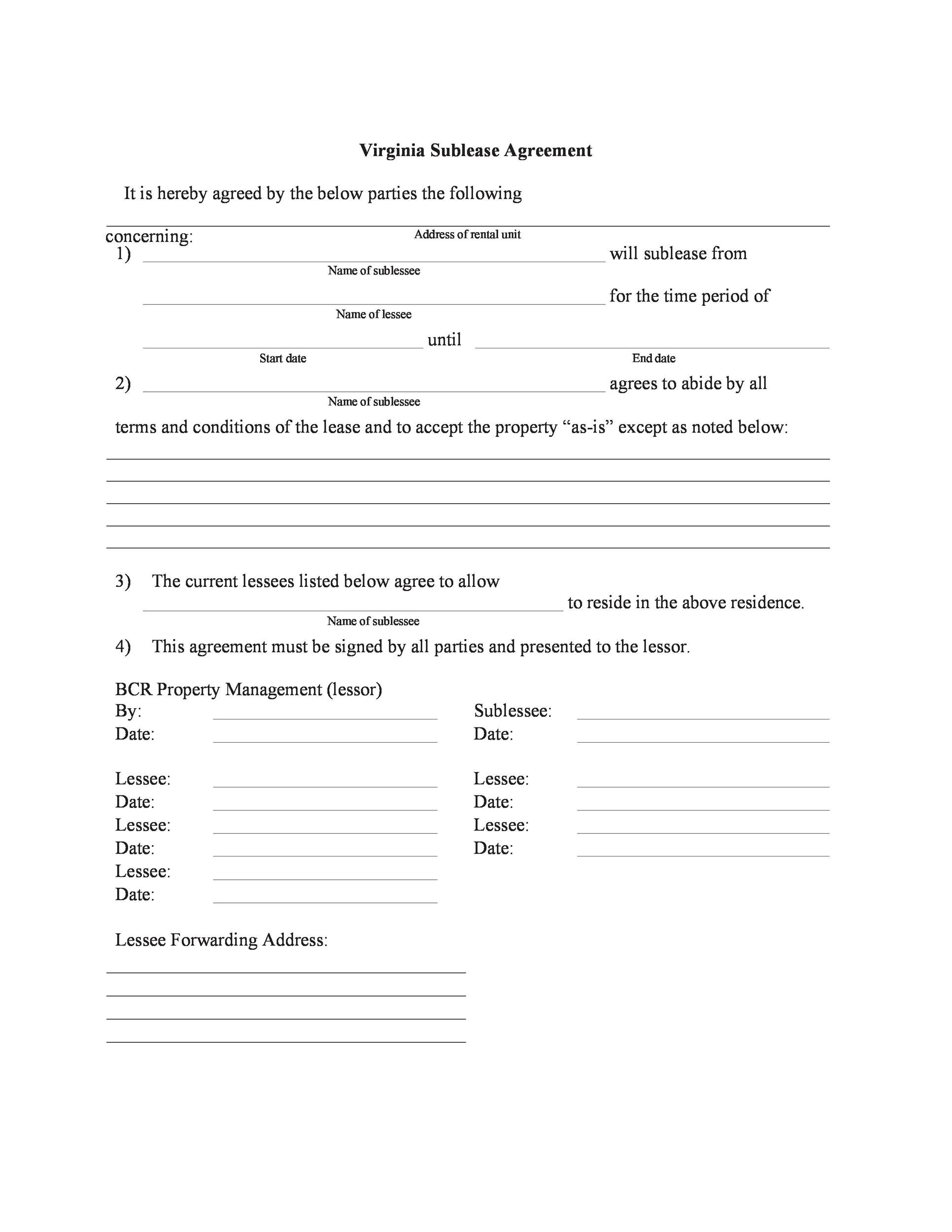 Free Sublease Agreement Template 42