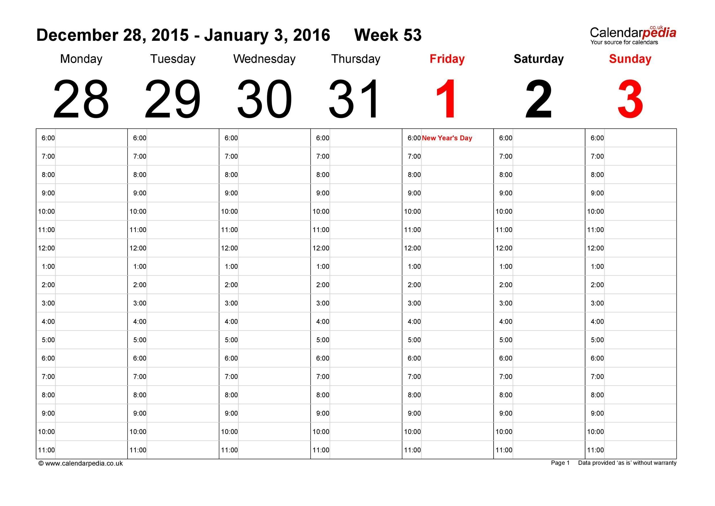 Free weekly calendar template 01