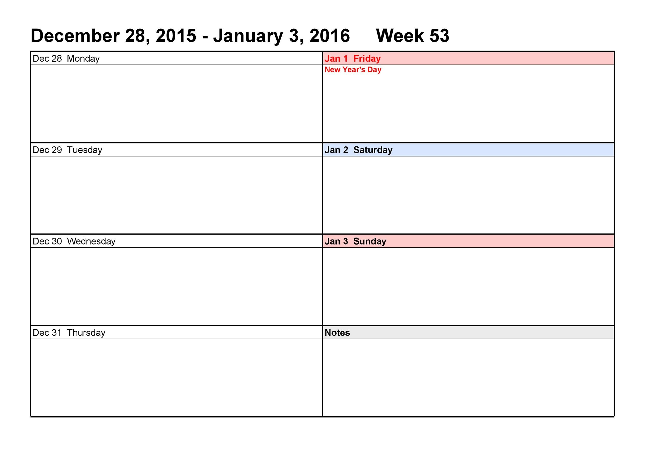 Blank Weekly Calendar Templates Pdf Excel Word  Template Lab