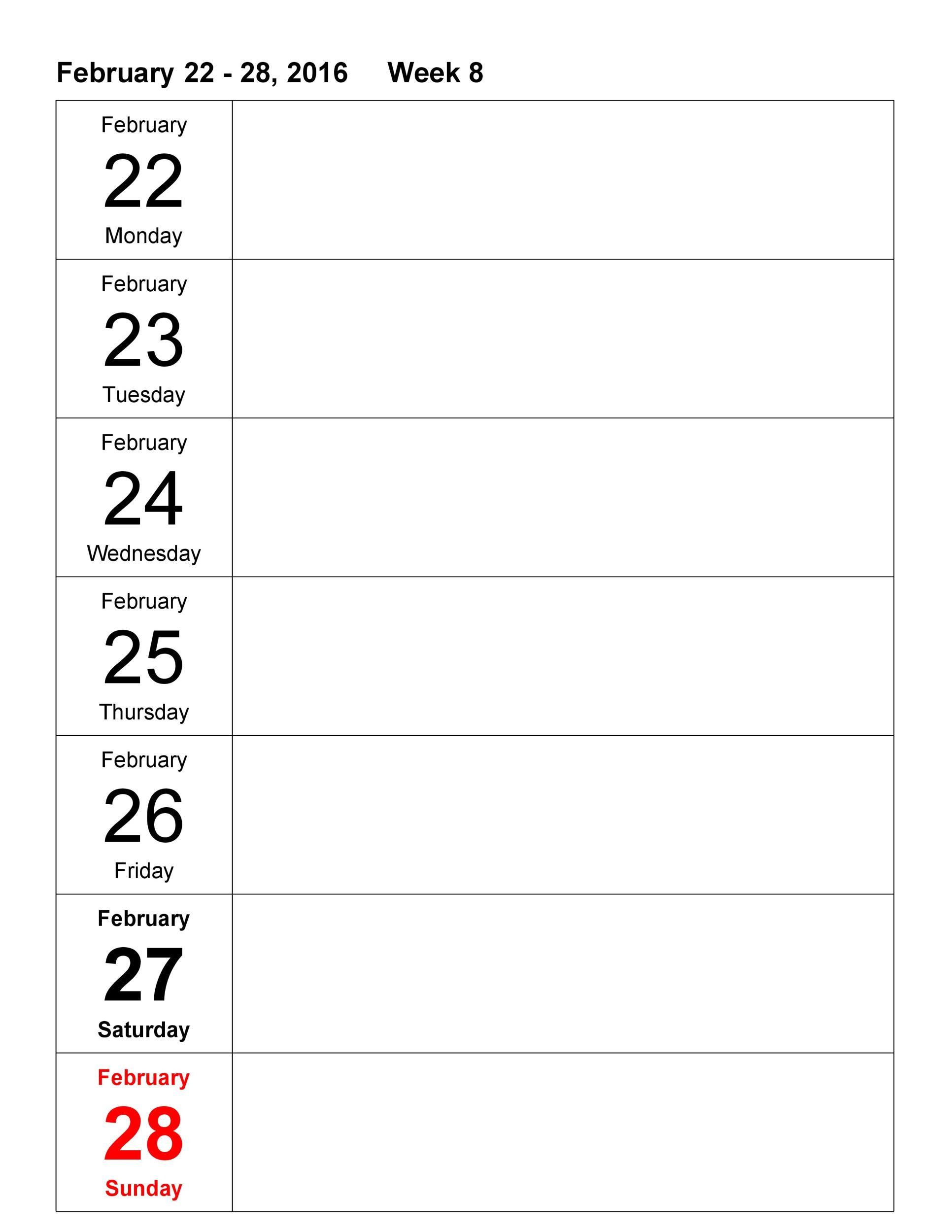Free weekly calendar template 04
