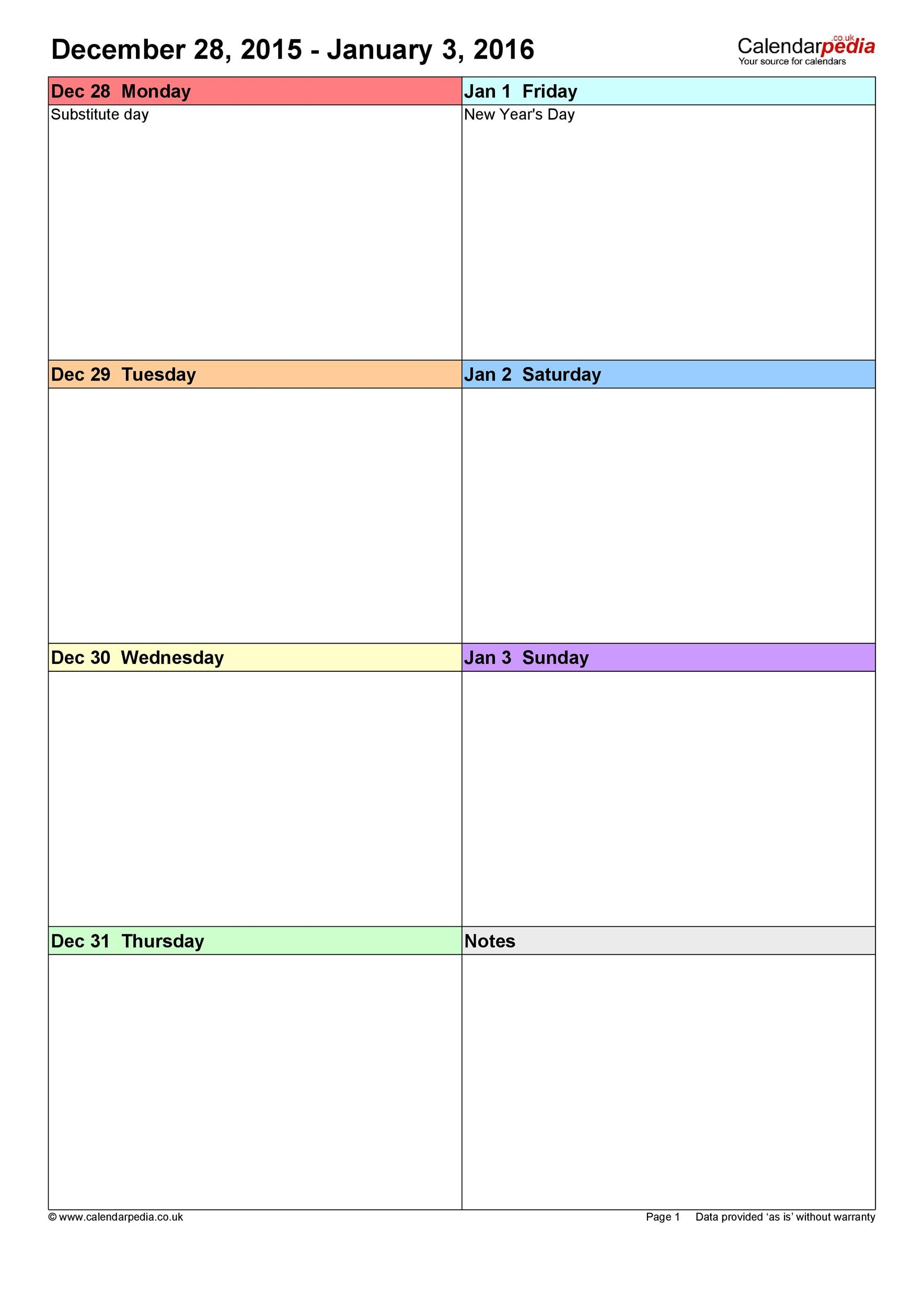 26 blank weekly calendar templates pdf excel word for Monday through saturday calendar template