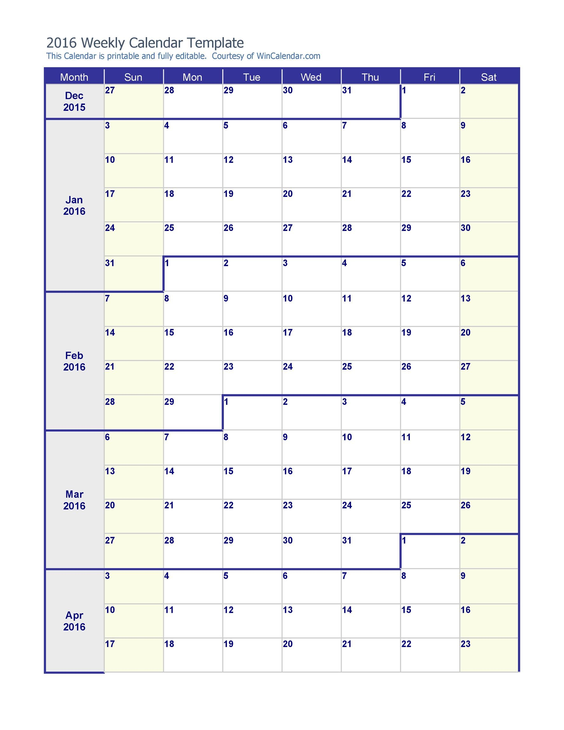 26 Blank Weekly Calendar Templates PDF Excel Word Template Lab – Word Weekly Calendar
