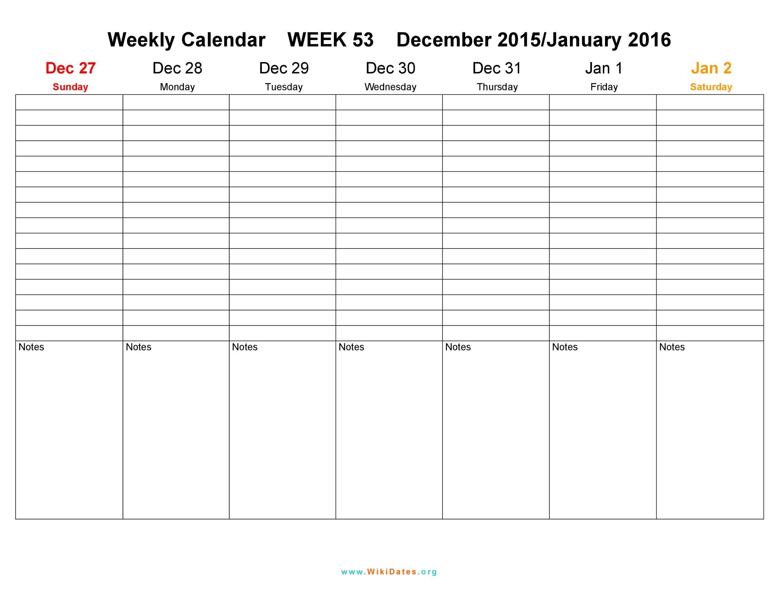 Free weekly calendar template 07