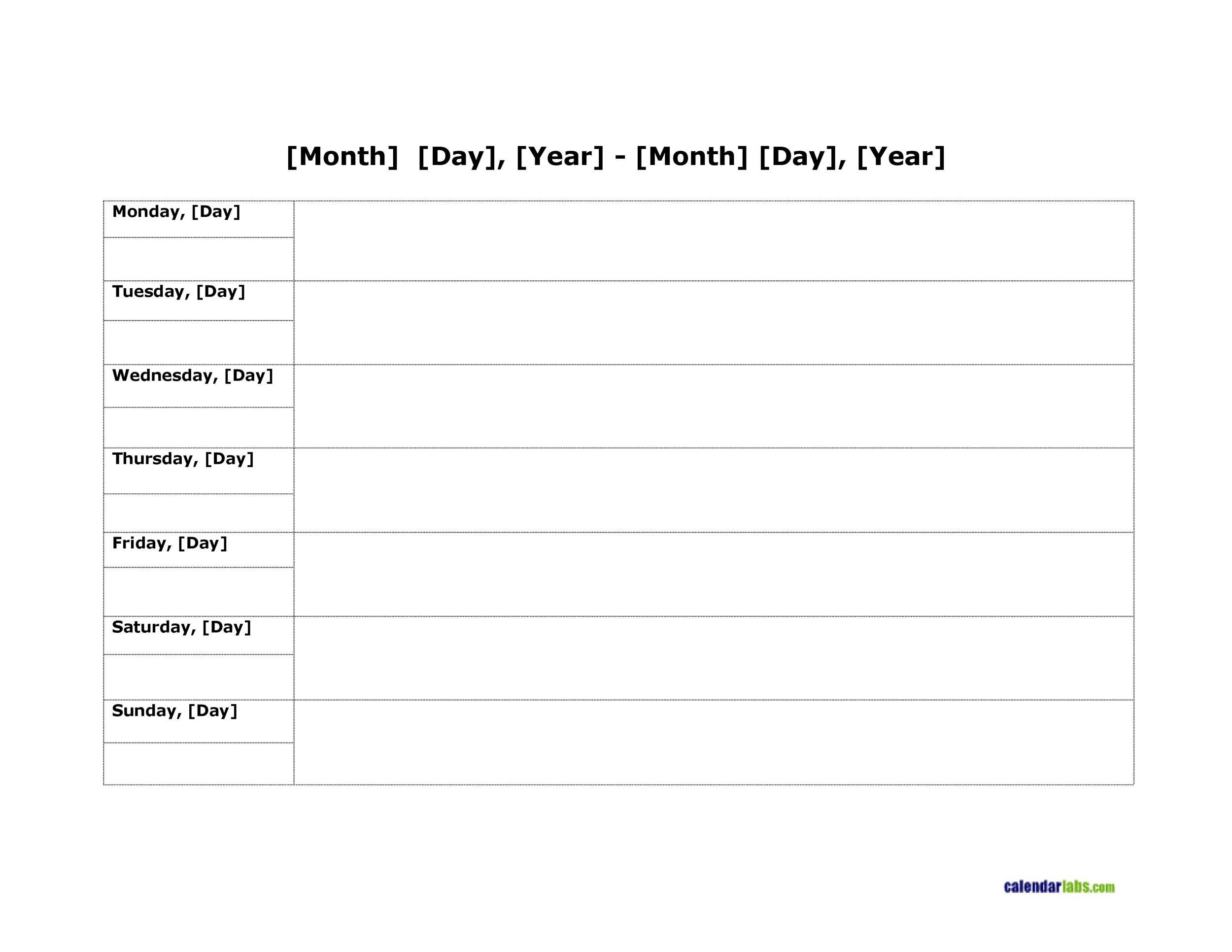 Free weekly calendar template 08