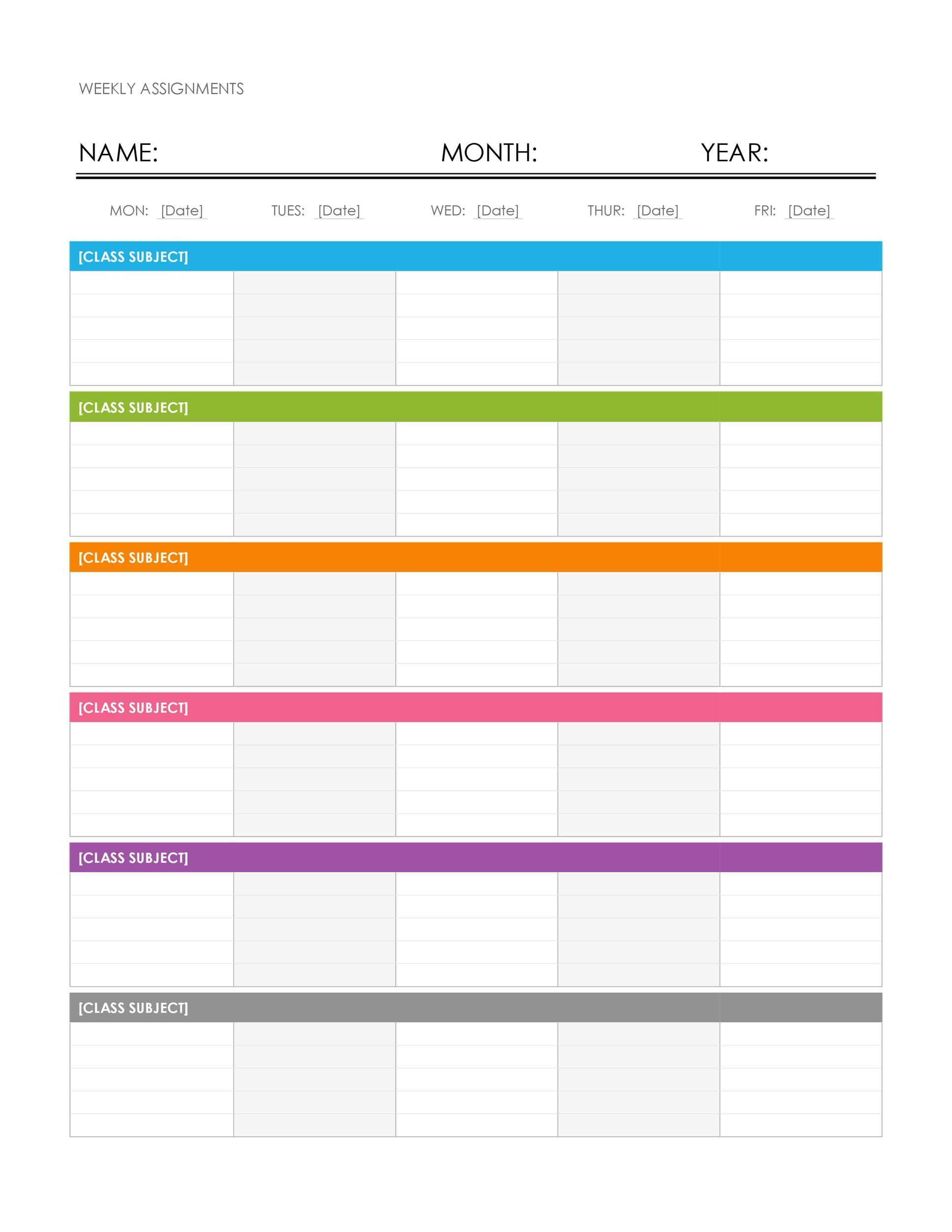 Weekly Timetable Template | 26 Blank Weekly Calendar Templates Pdf Excel Word Template Lab