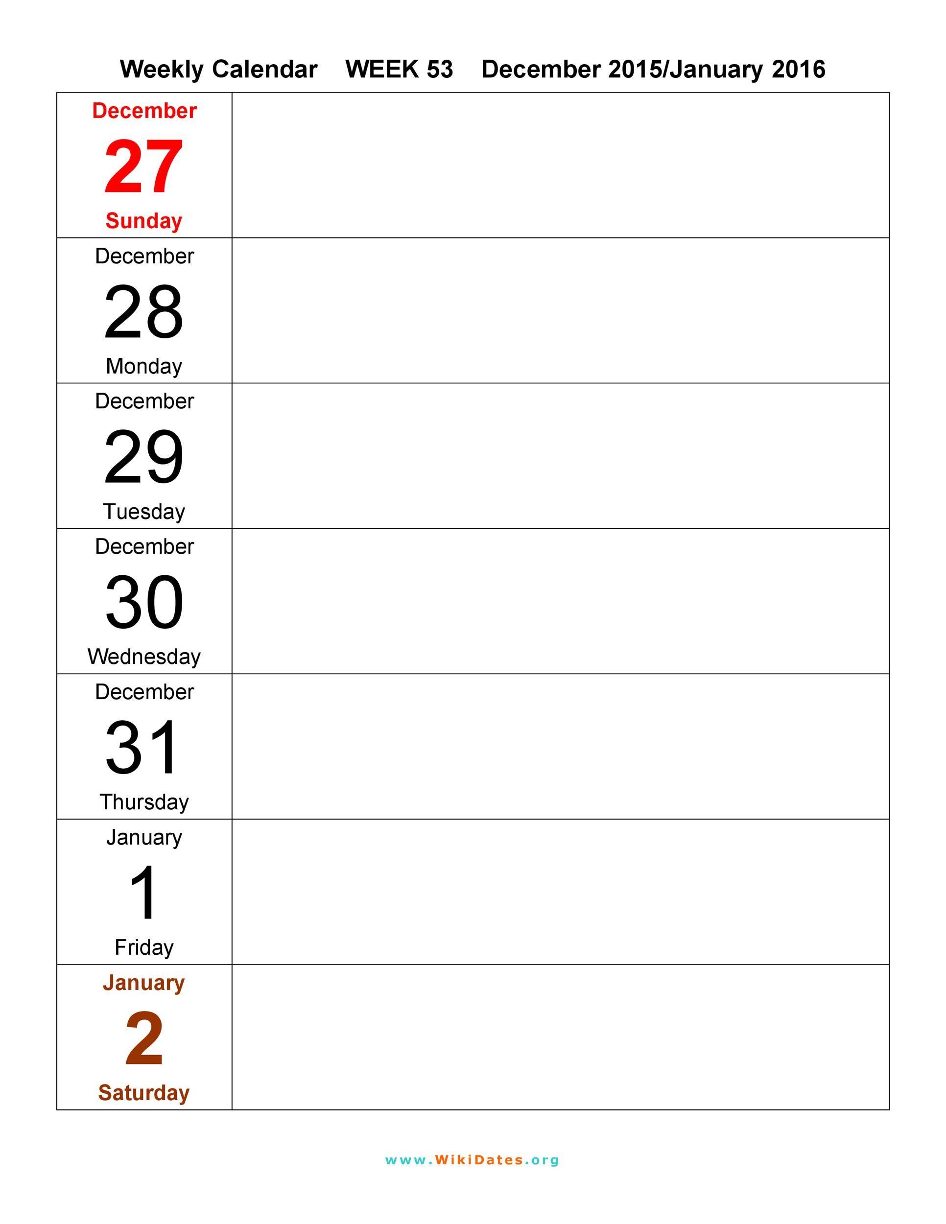 Free weekly calendar template 11