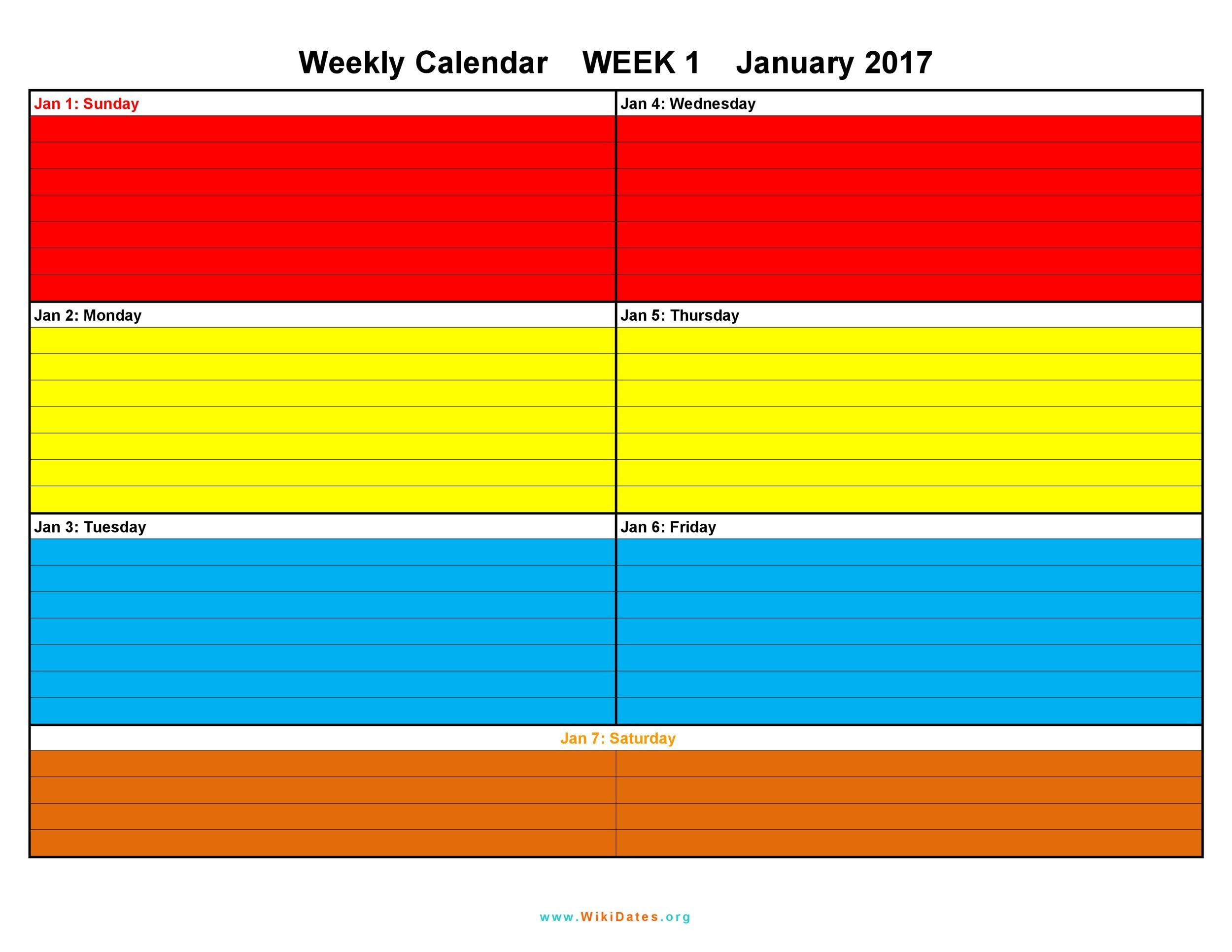 26 Blank Weekly Calendar Templates Pdf Excel Word