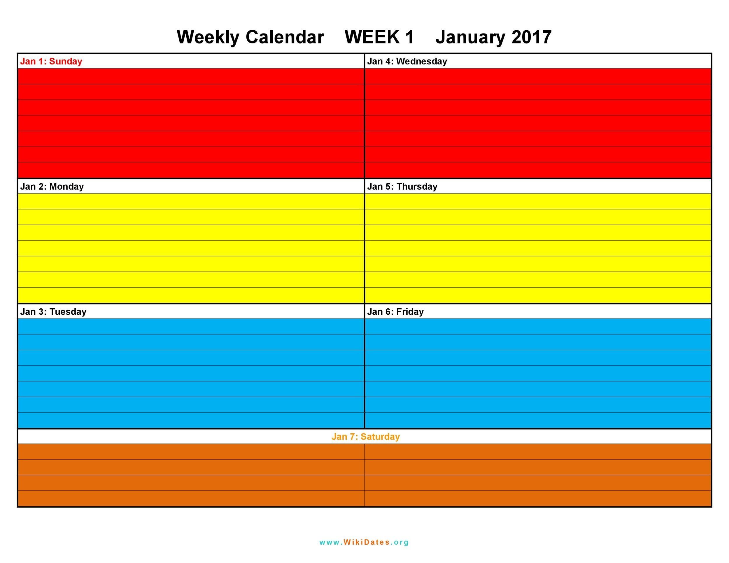 Free weekly calendar template 12