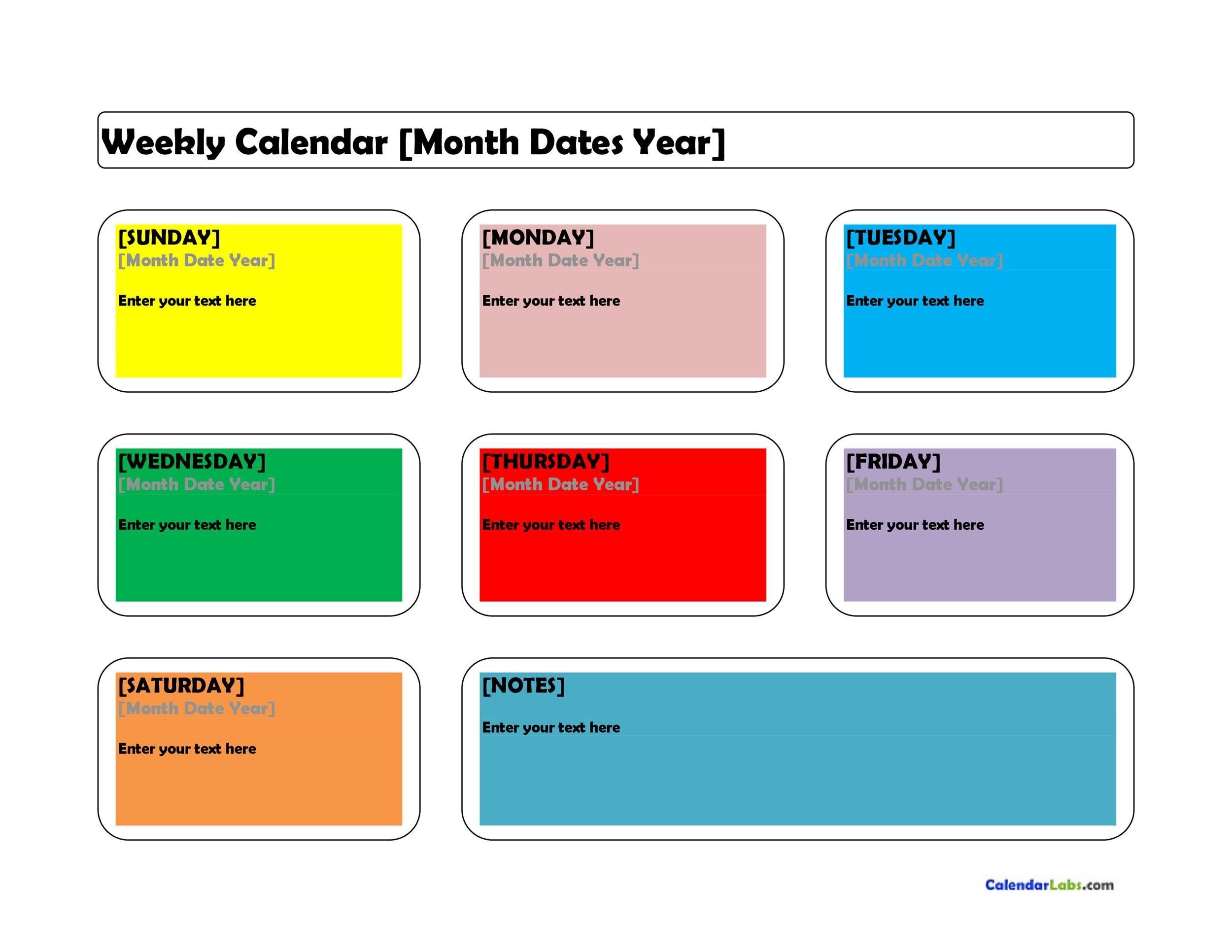 Printable Weekly Calendar Template 14  Free Week Calendar Template