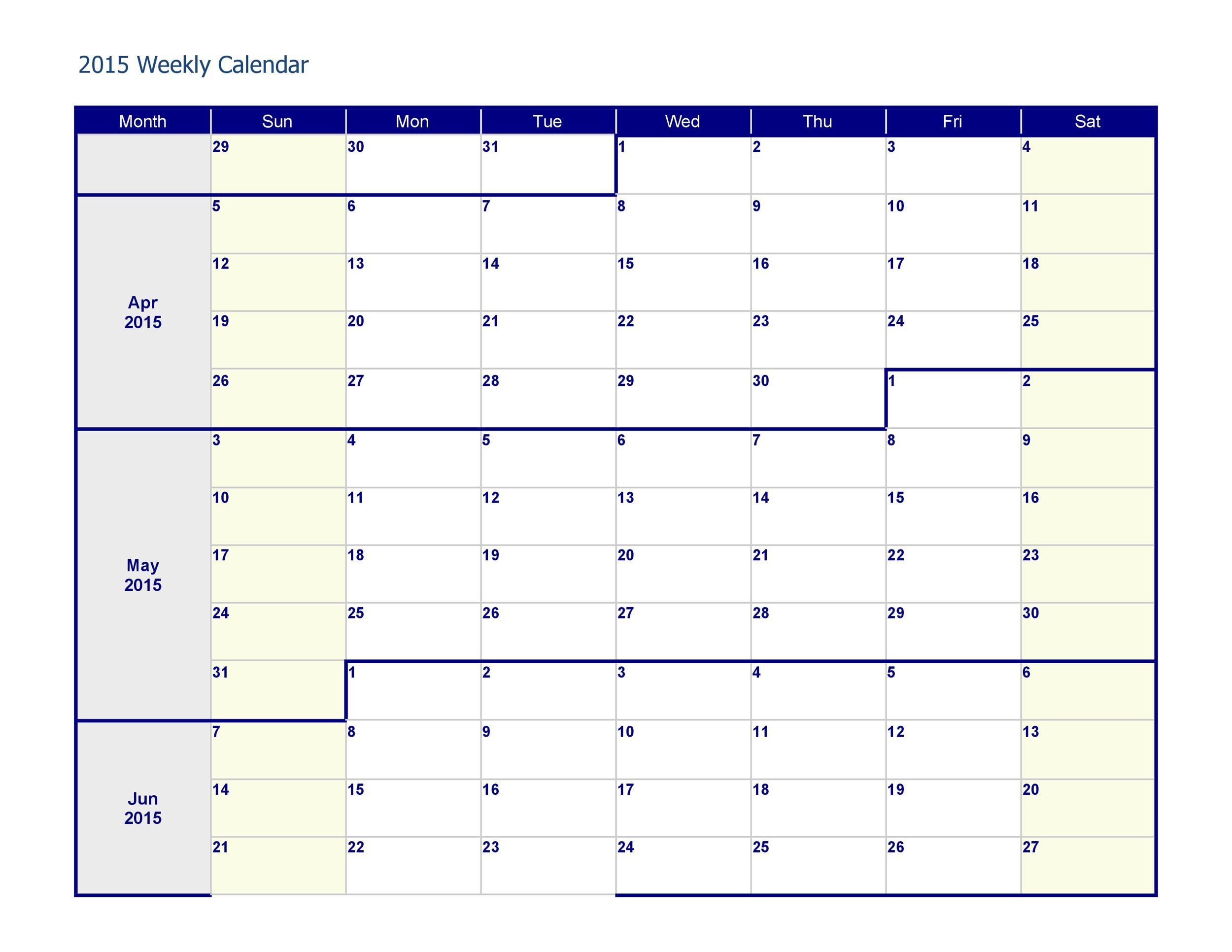 Free weekly calendar template 16