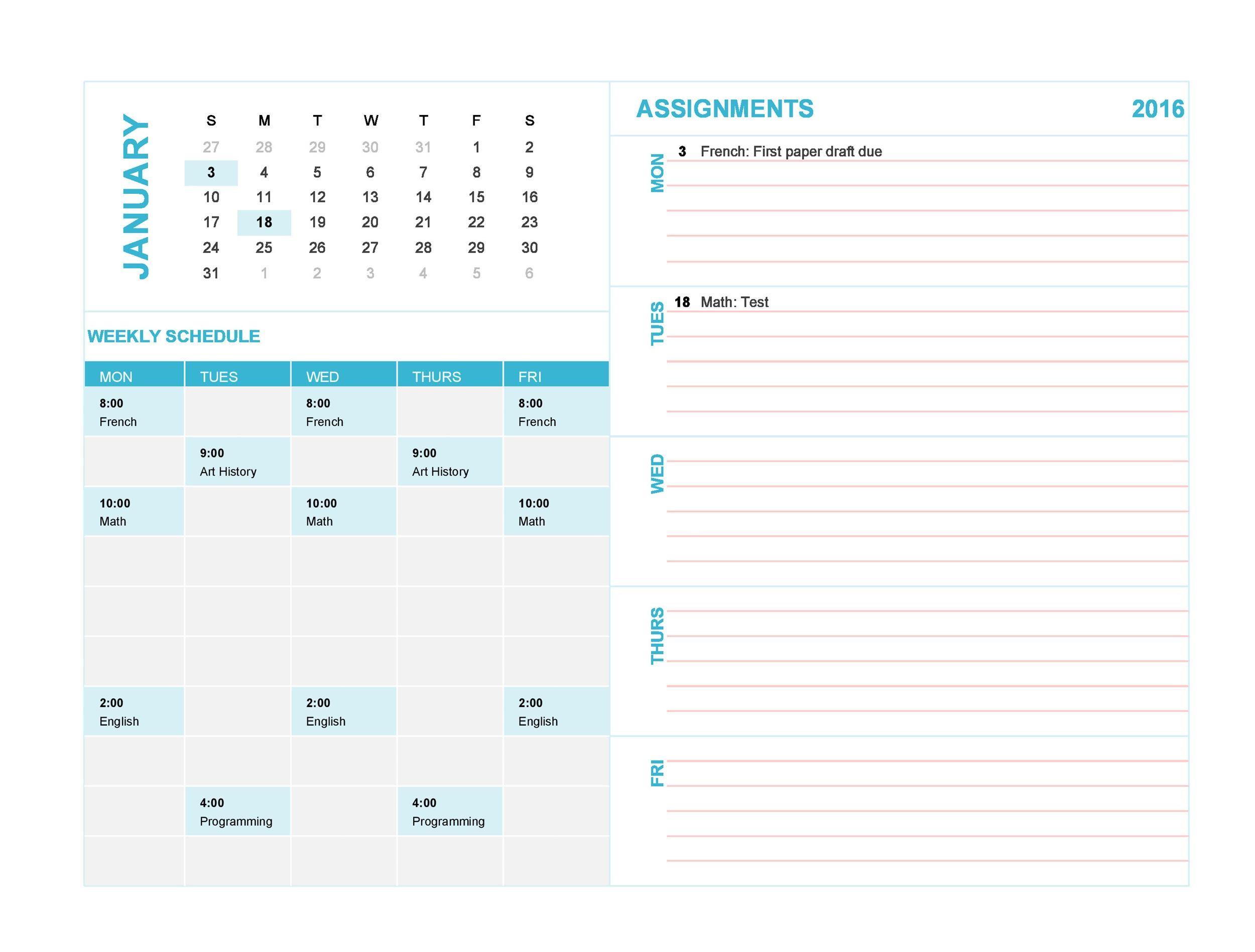 Free weekly calendar template 18