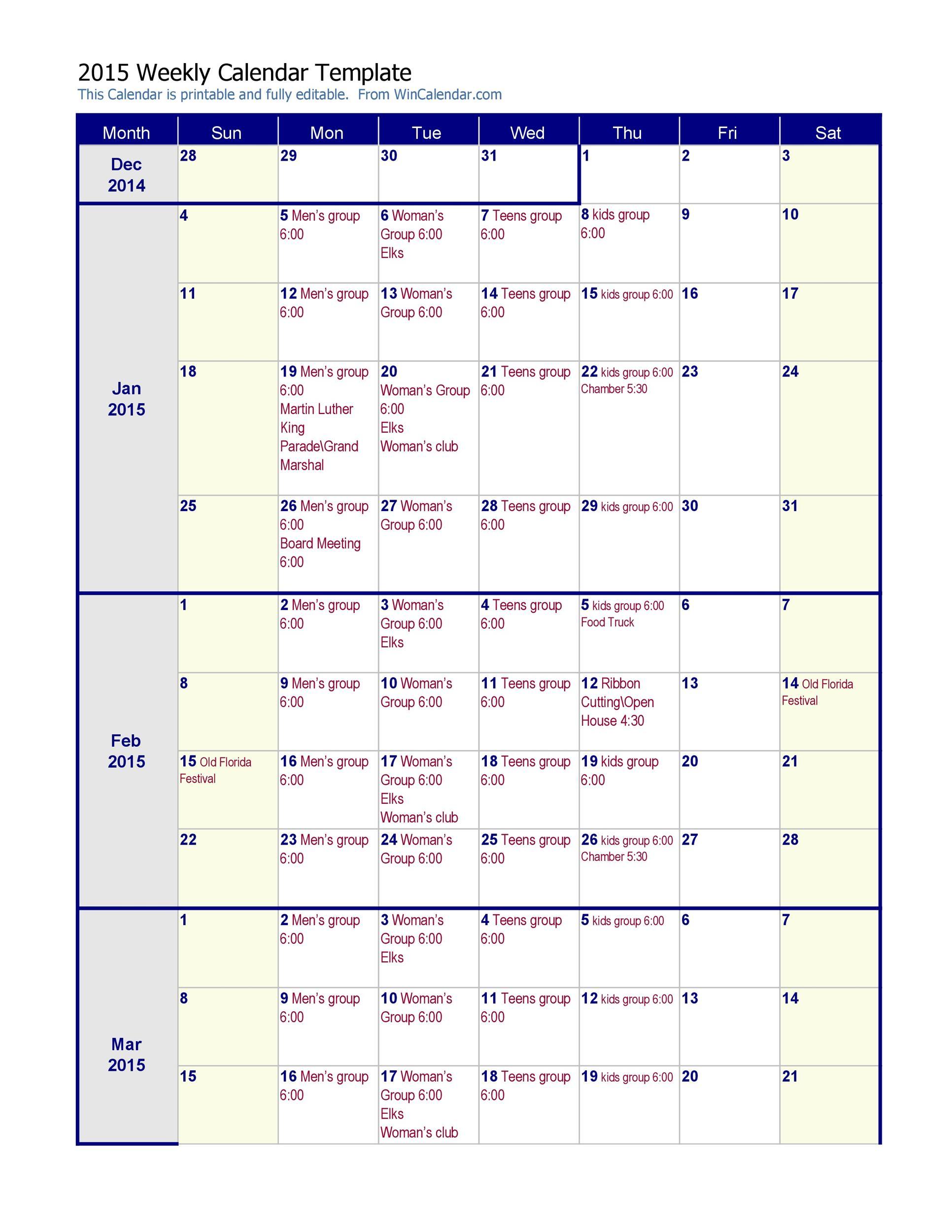 Free weekly calendar template 23