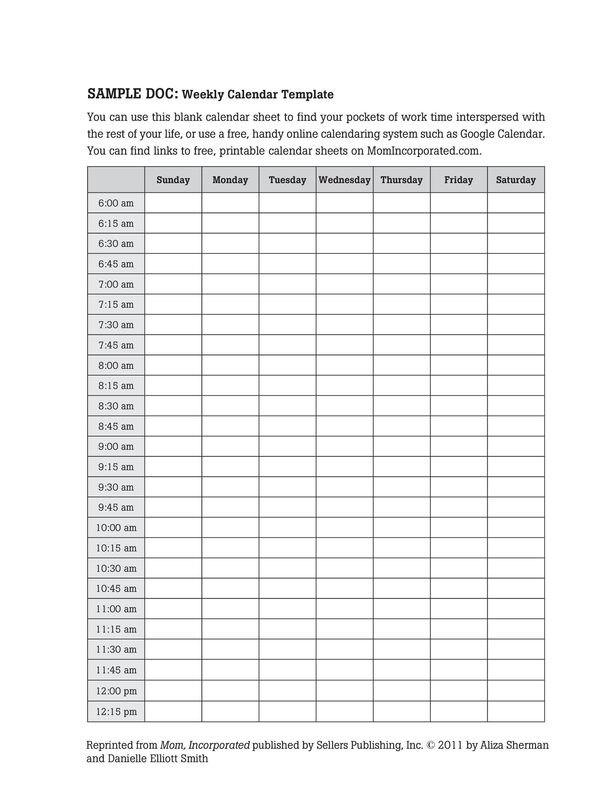 picture relating to Free Printable Weekly Schedule called 26 Blank Weekly Calendar Templates [PDF, Excel, Term] ᐅ