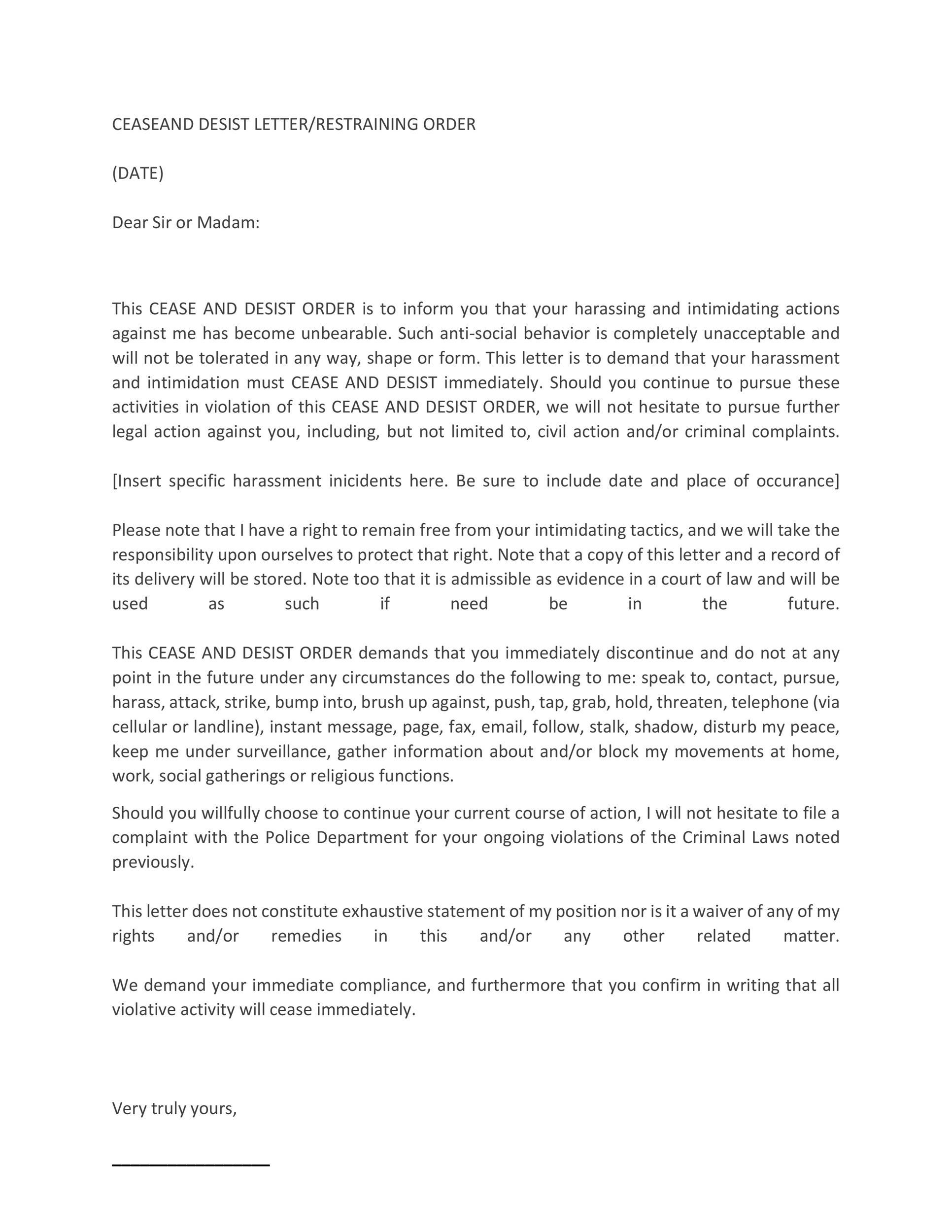 Sample Restraining Order Letter