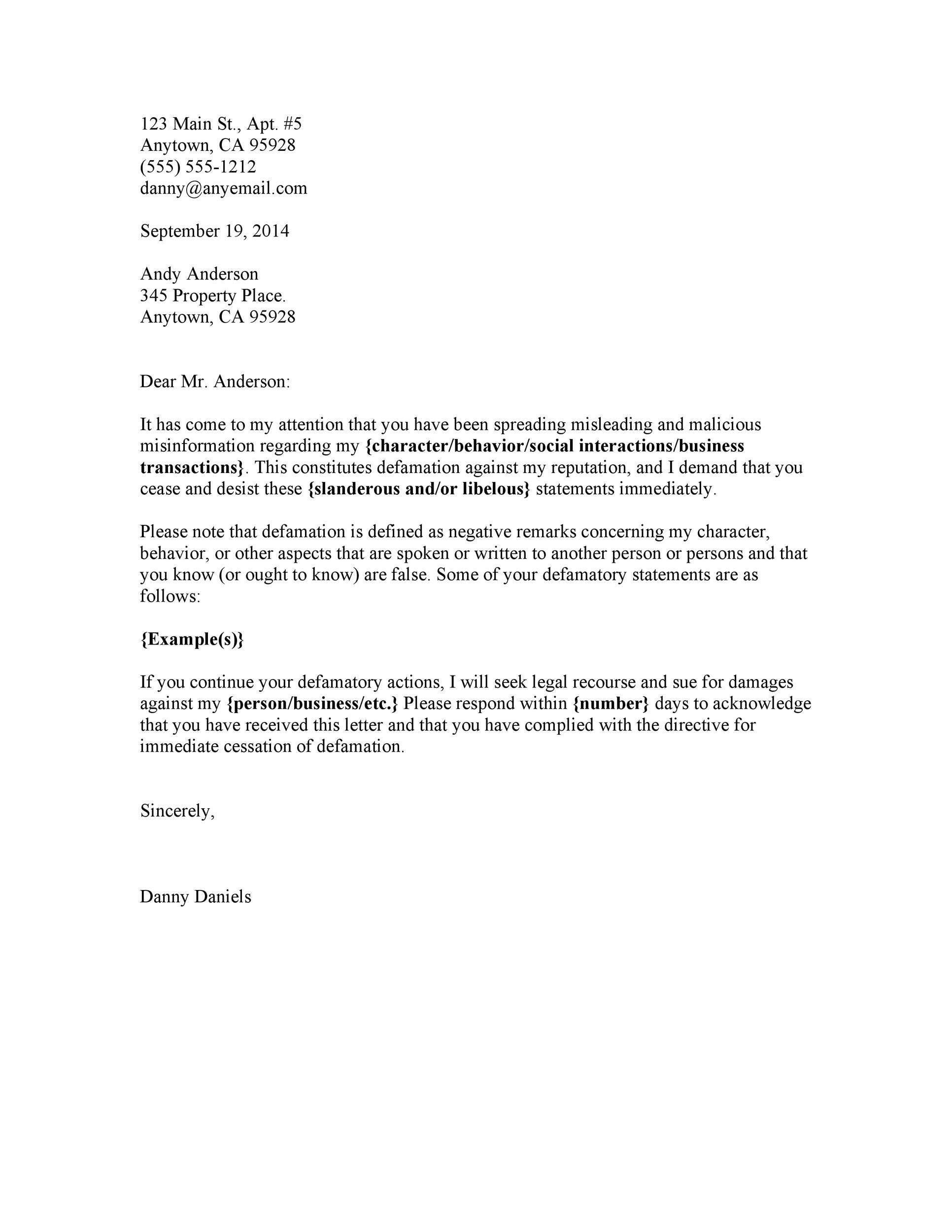 Cease And Desist Letter Templates Free  Template Lab