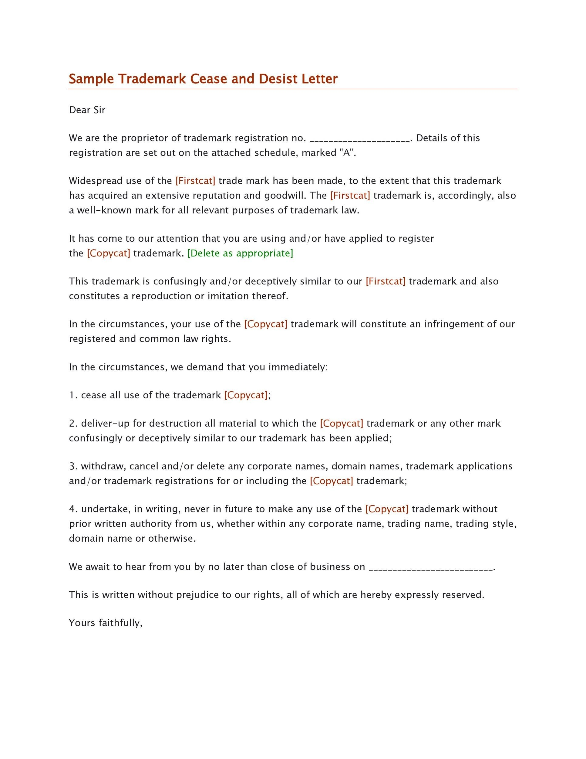 30 Cease and Desist Letter Templates FREE Template Lab – Cease and Desist Template Trademark