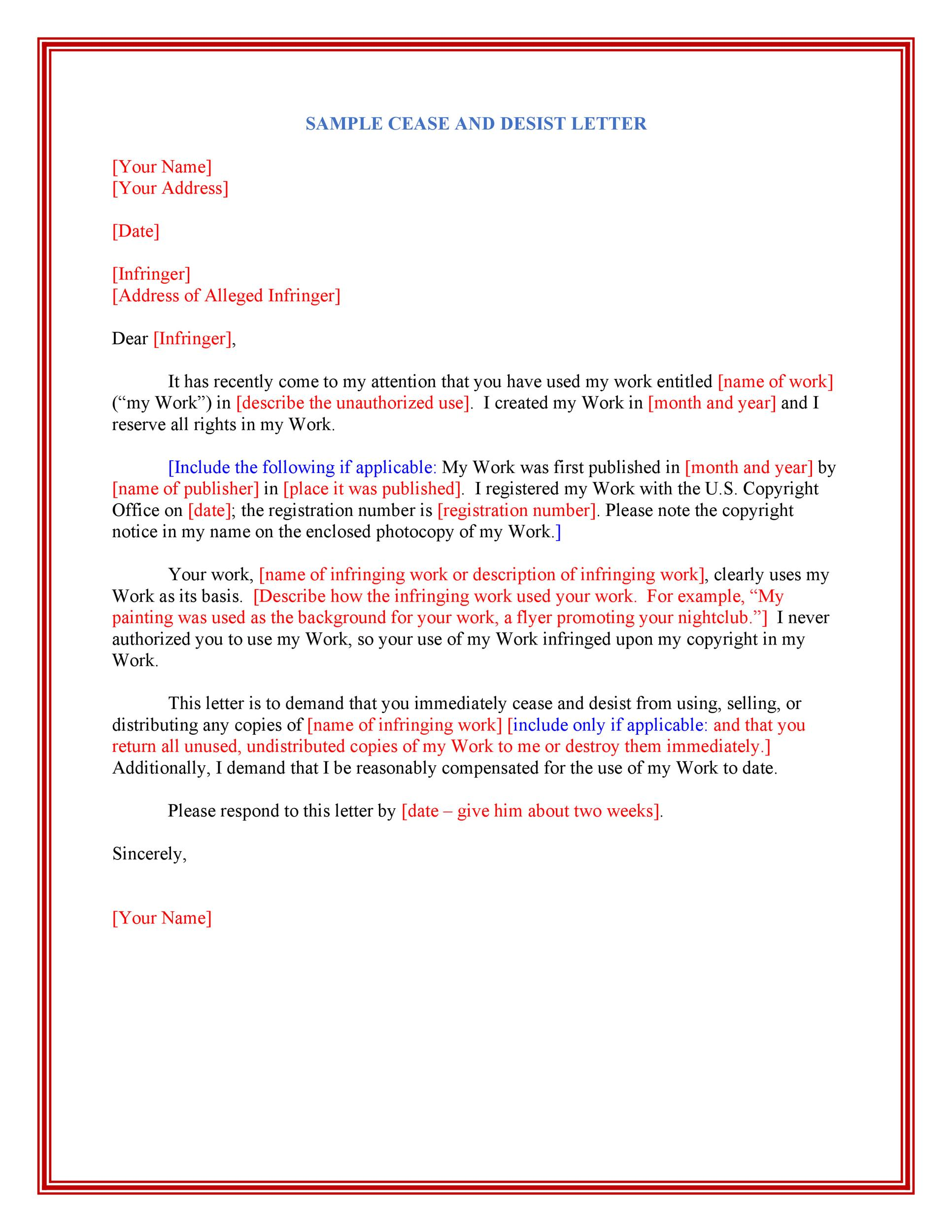 Exceptional Printable Cease And Desist Template 28  Free Cease And Desist Letter
