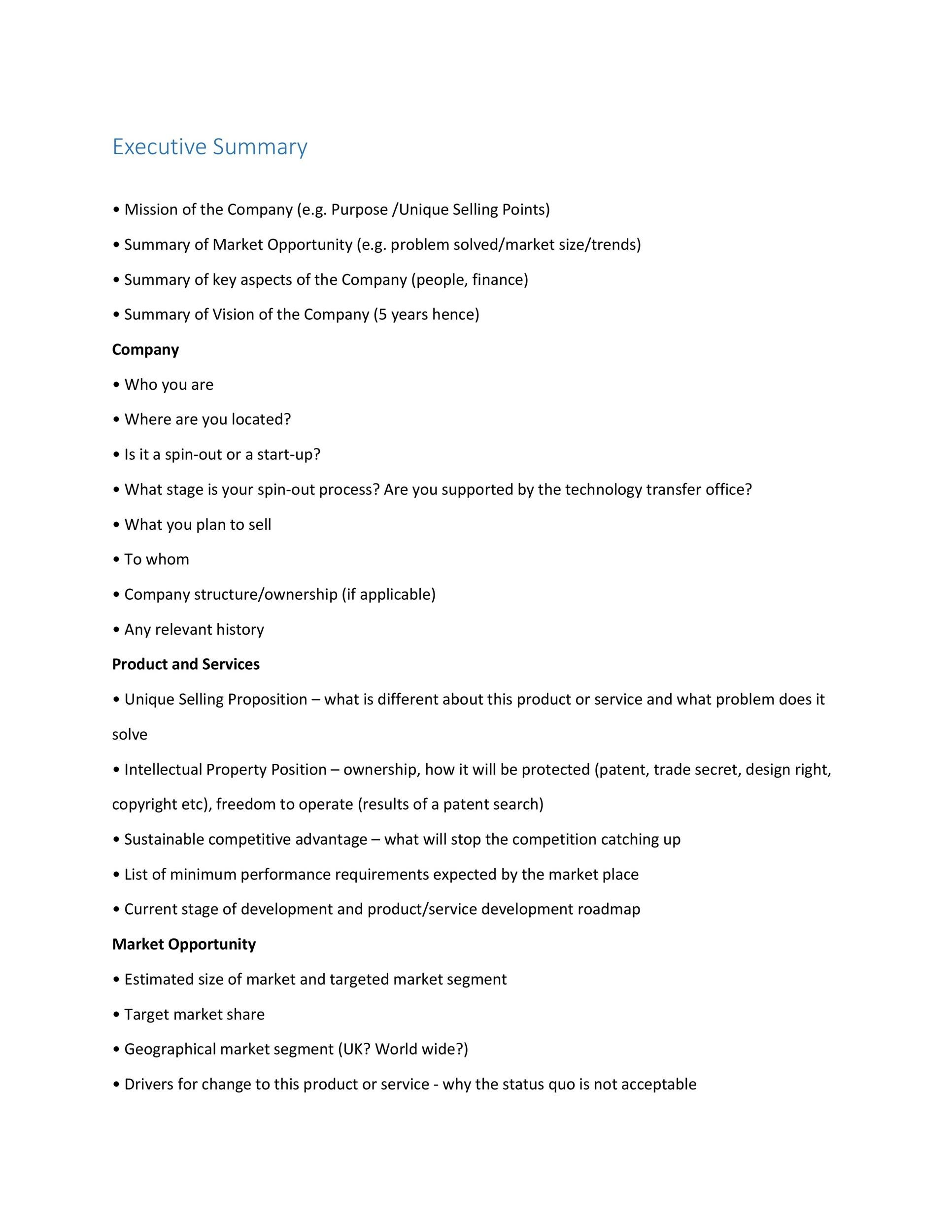 Executive Summary Template 05