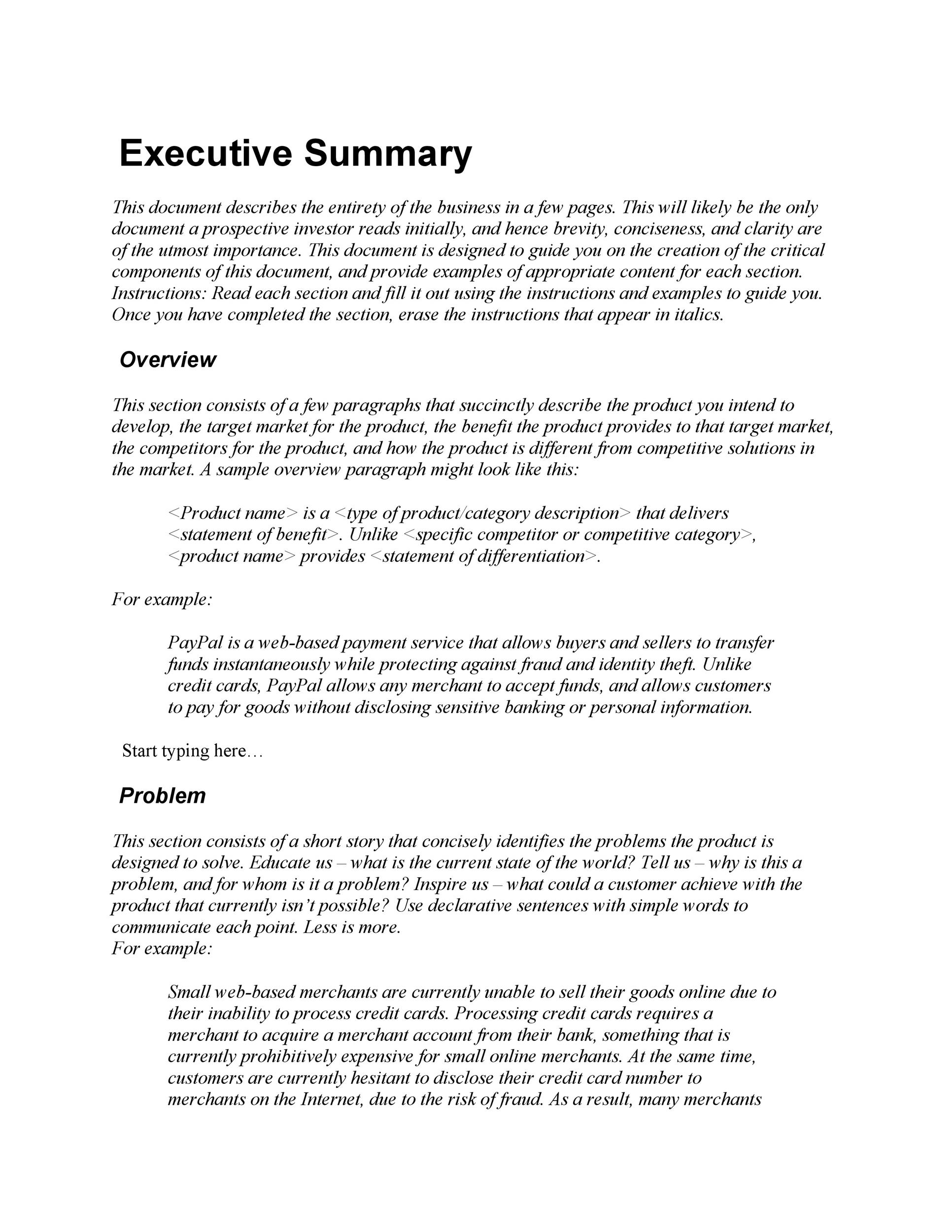 Executive summary business plan sample