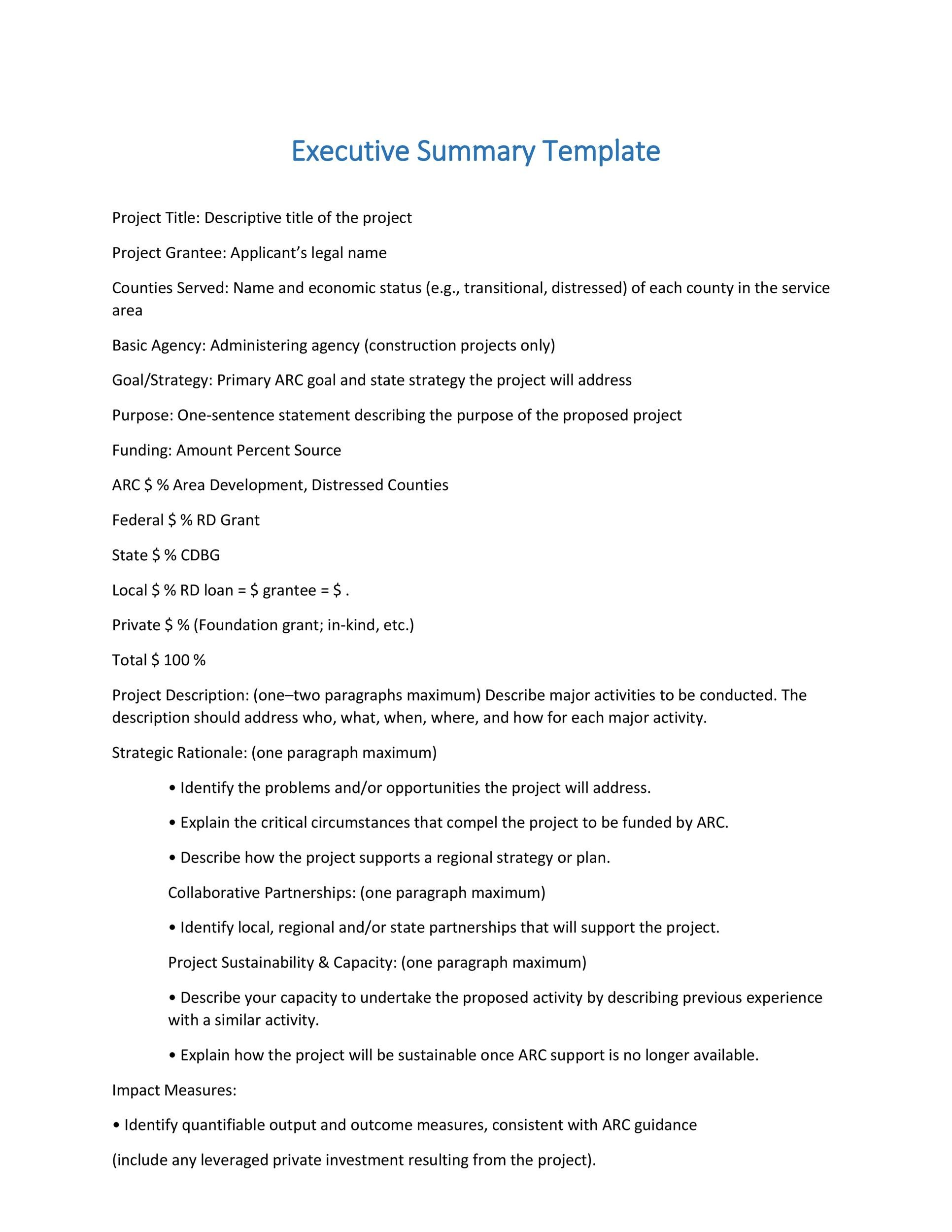 Printable Executive Summary Template 13  Example Of Good Executive Summary