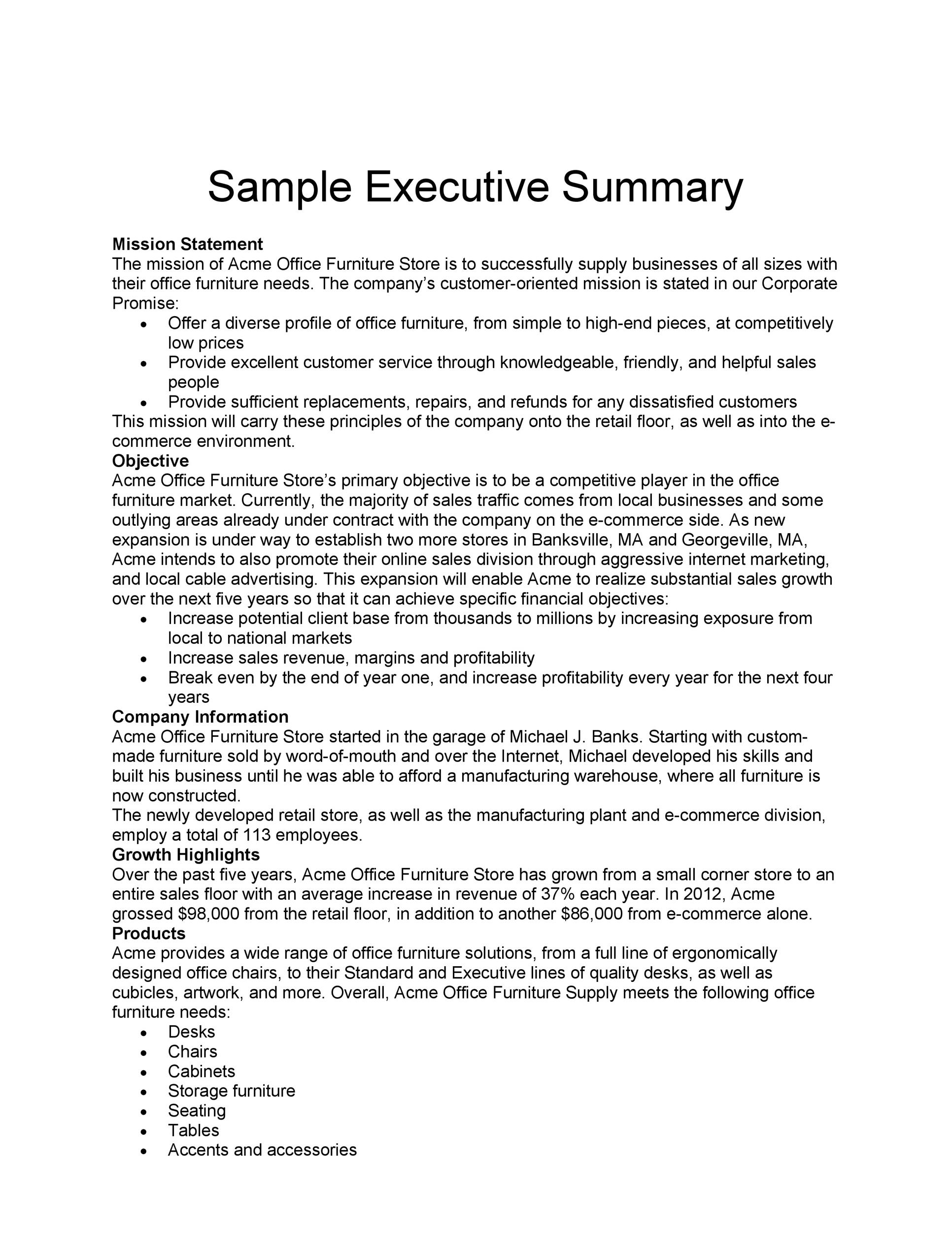 examples of executive summary templates Template