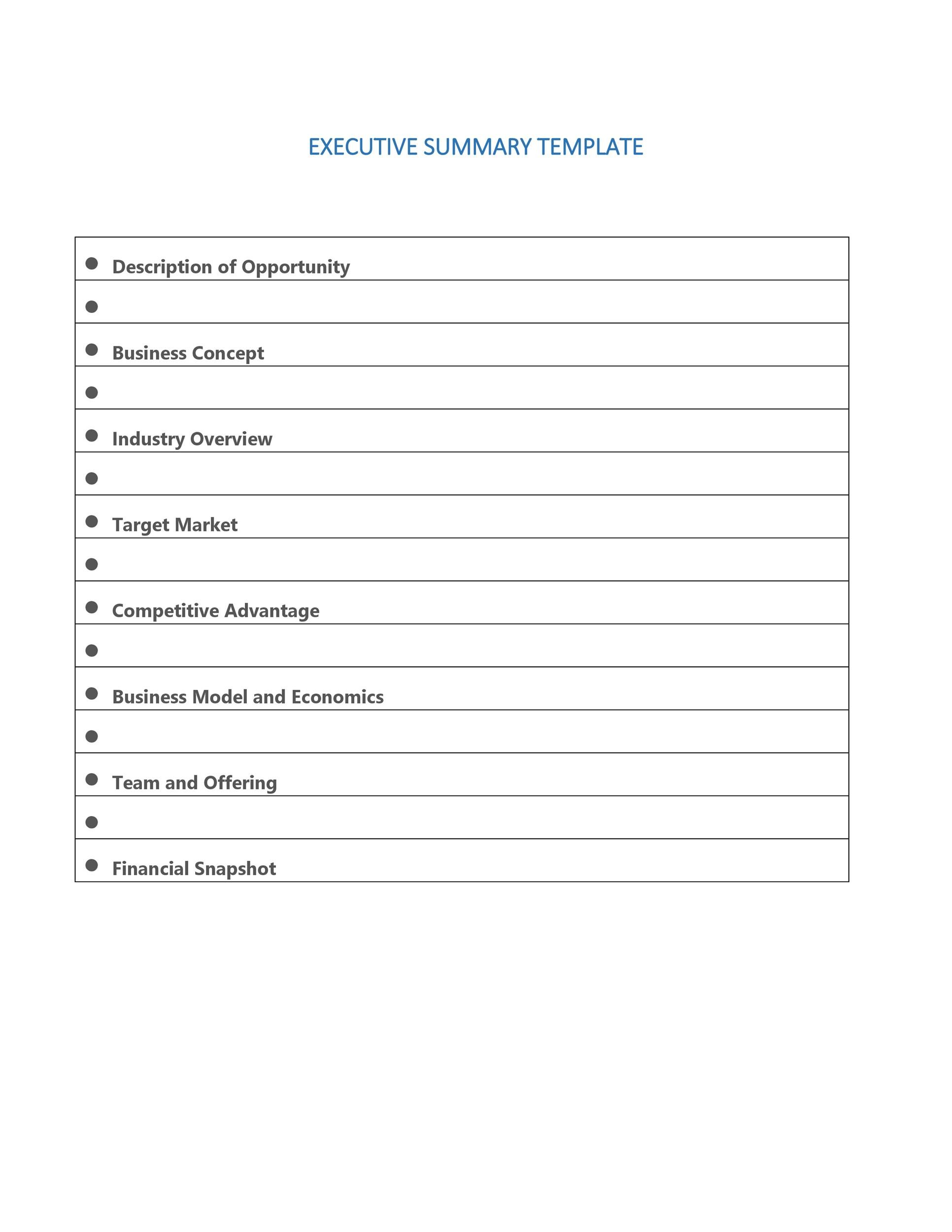 Free Executive Summary Template 19