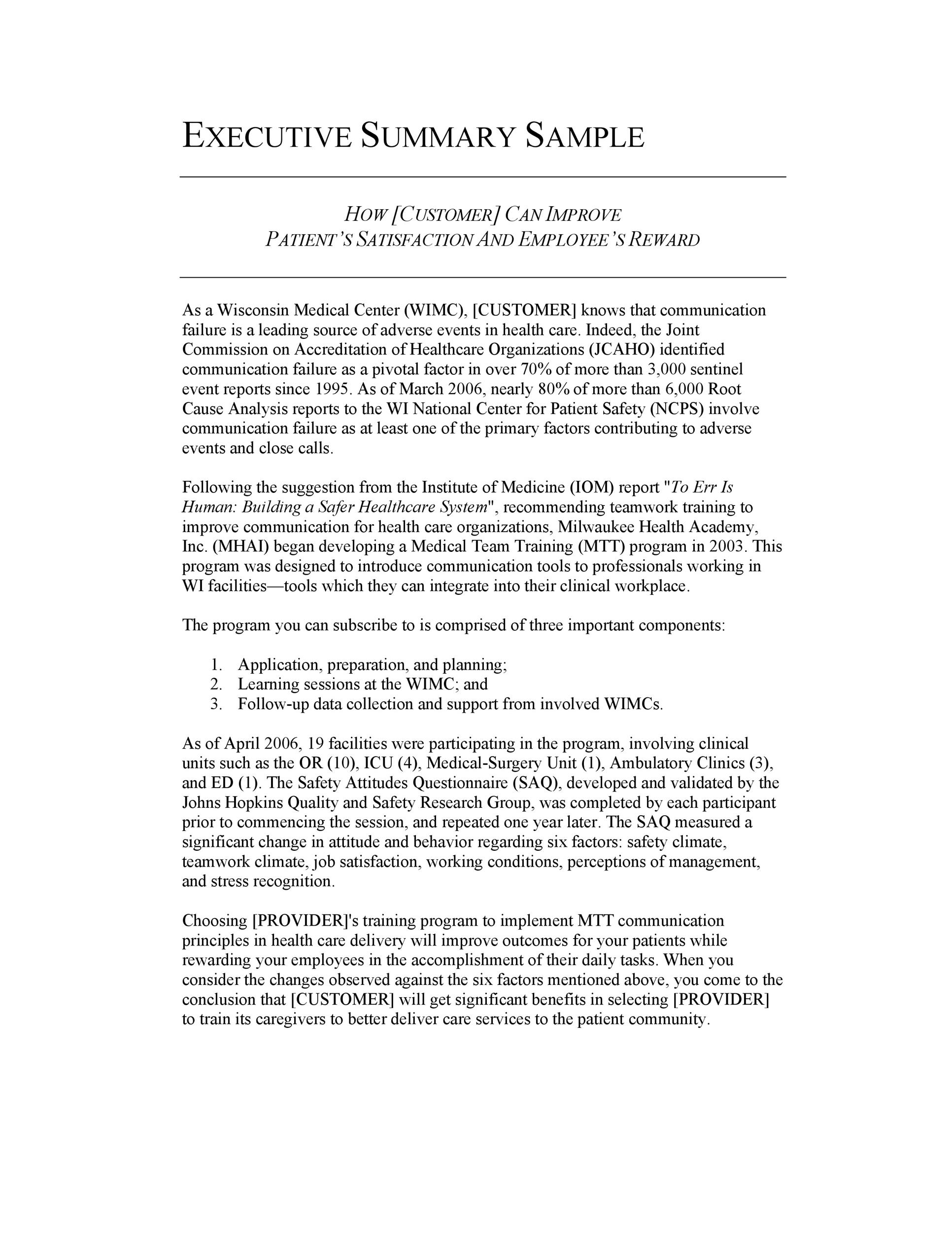Printable Executive Summary Template 28  Executive Summary Of A Report Example