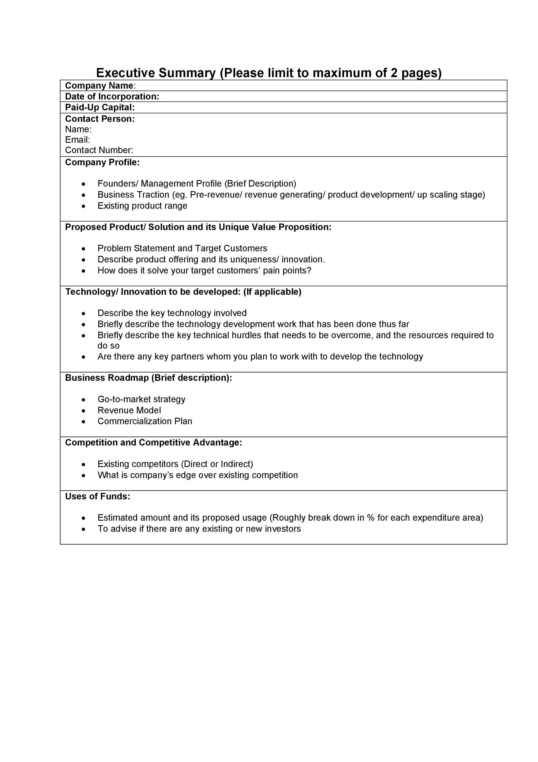 Printable Executive Summary Template 30  Management Summary Template