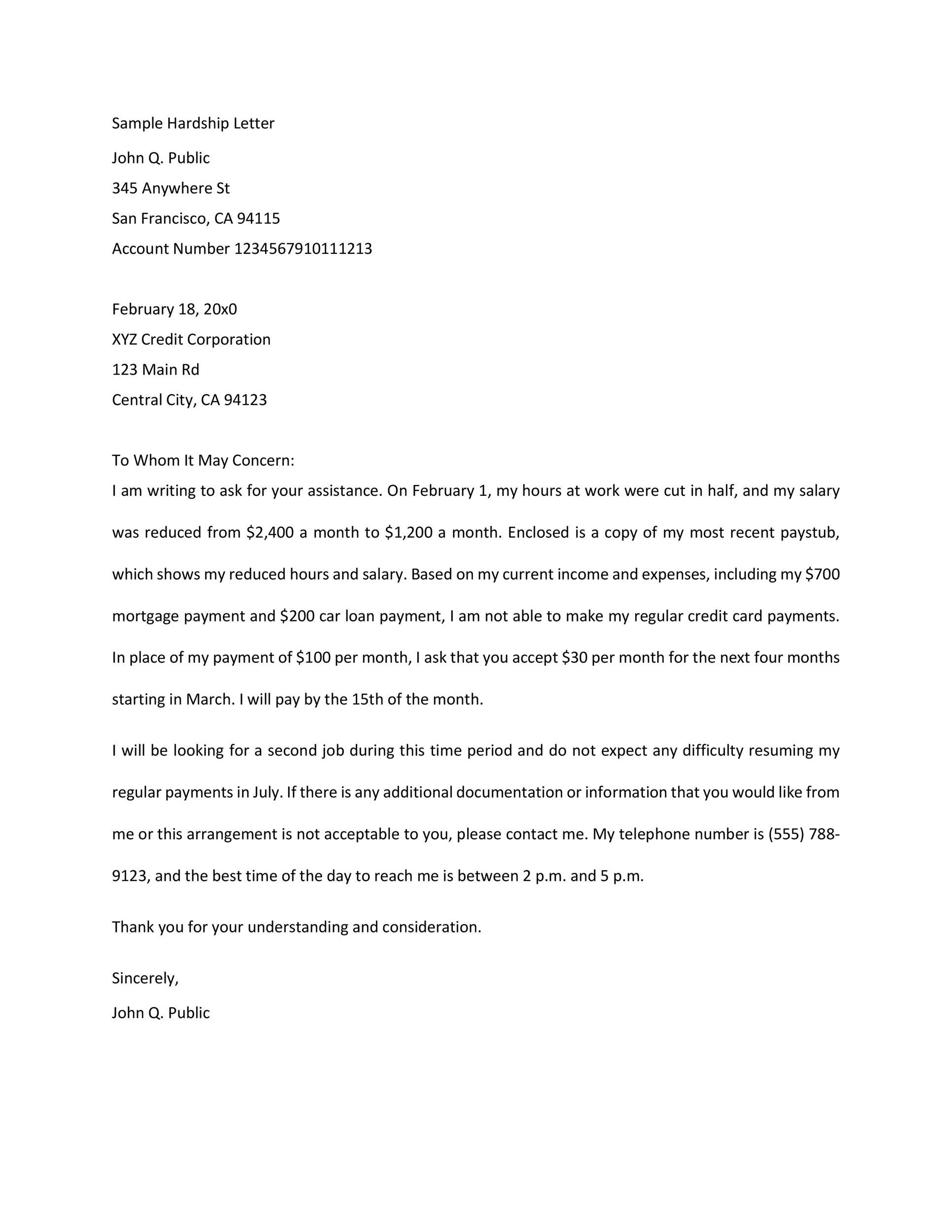 Free Hardship Letter Template 05