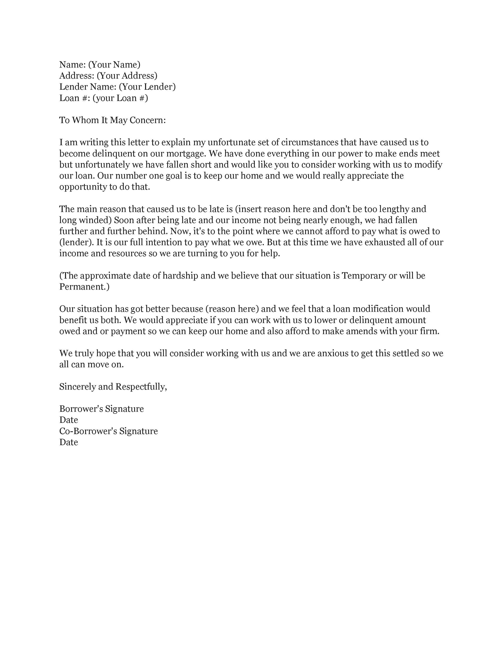 Free Hardship Letter Template 06