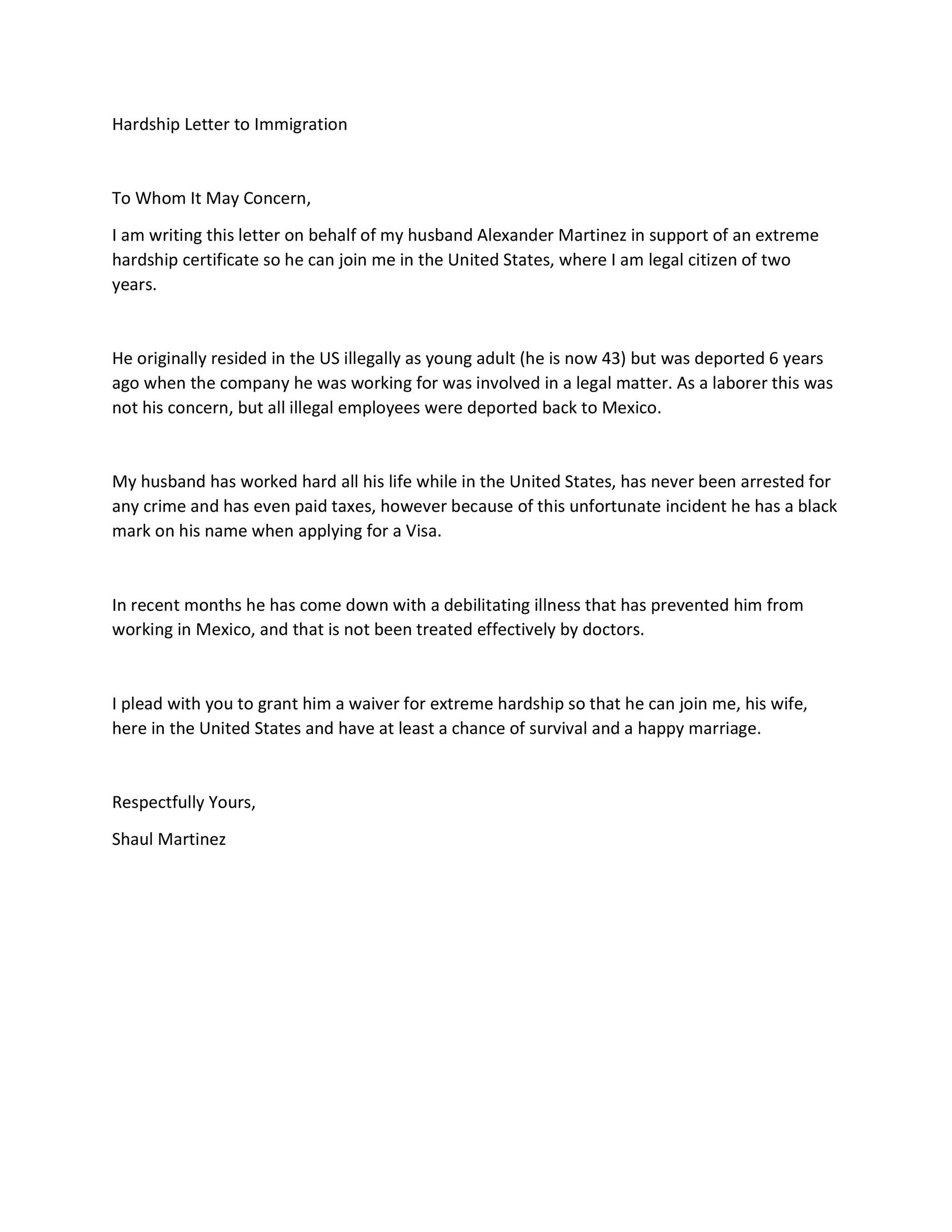 Free Hardship Letter Template 10