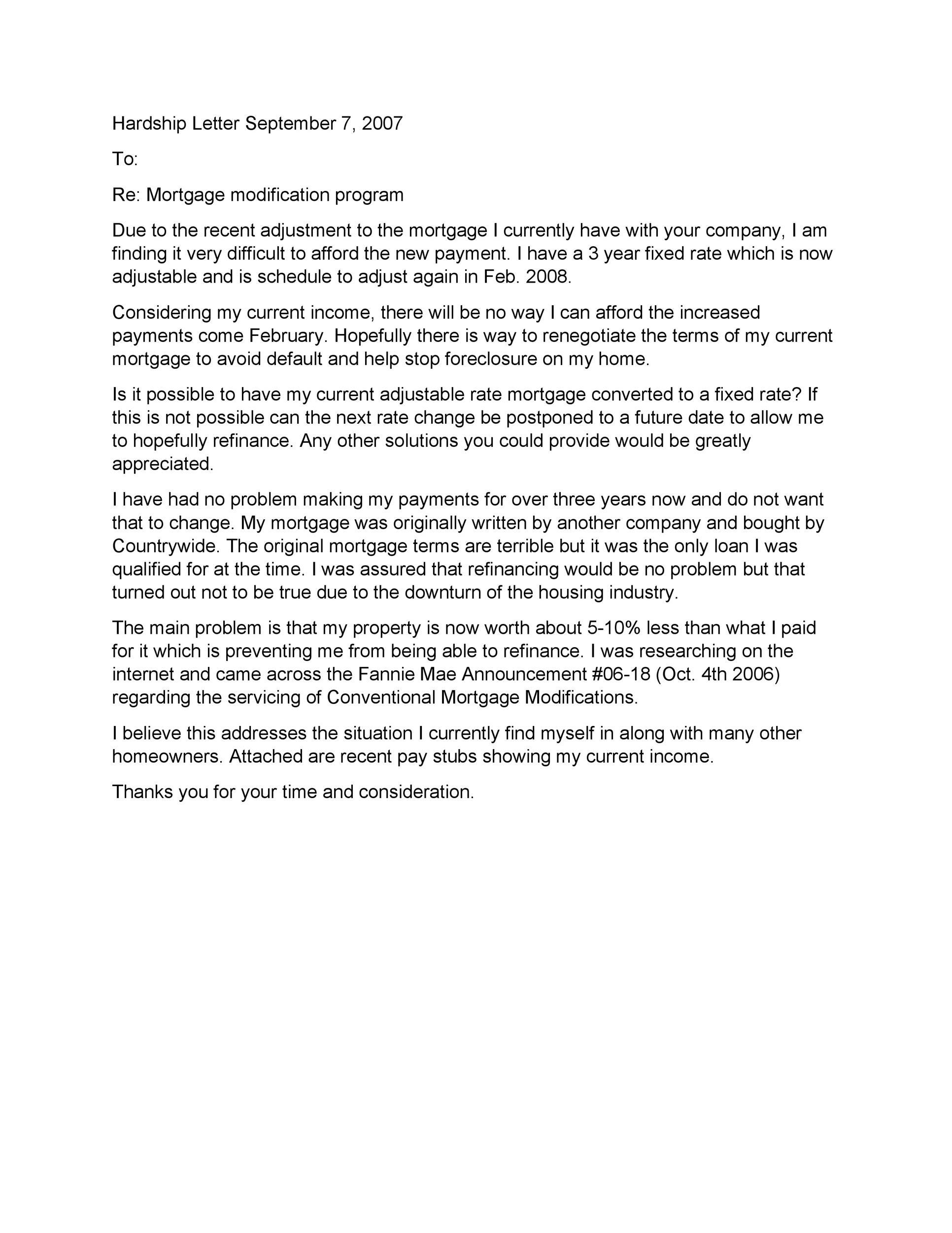 Sample Hardship Letter To Judge