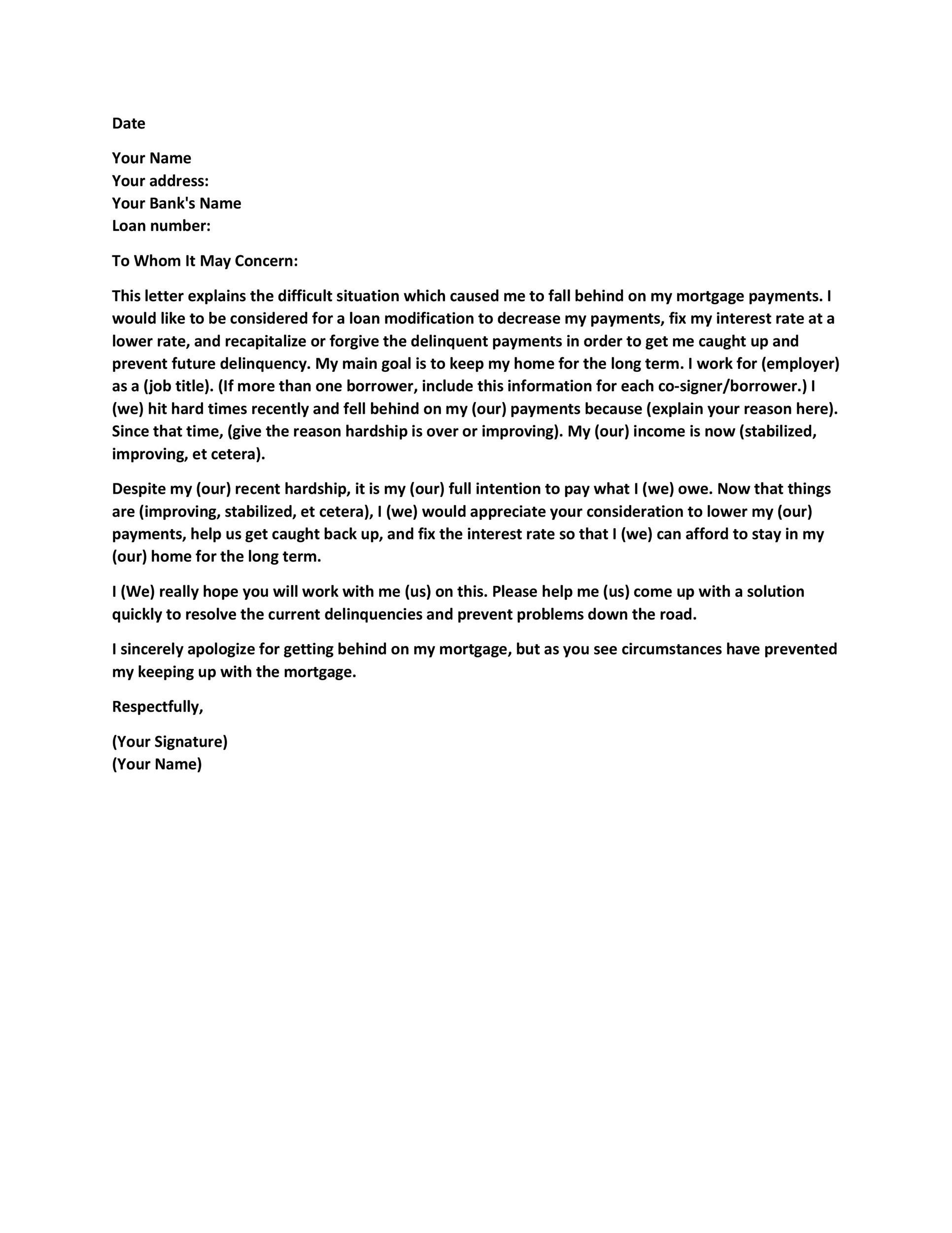 Free Hardship Letter Template 14