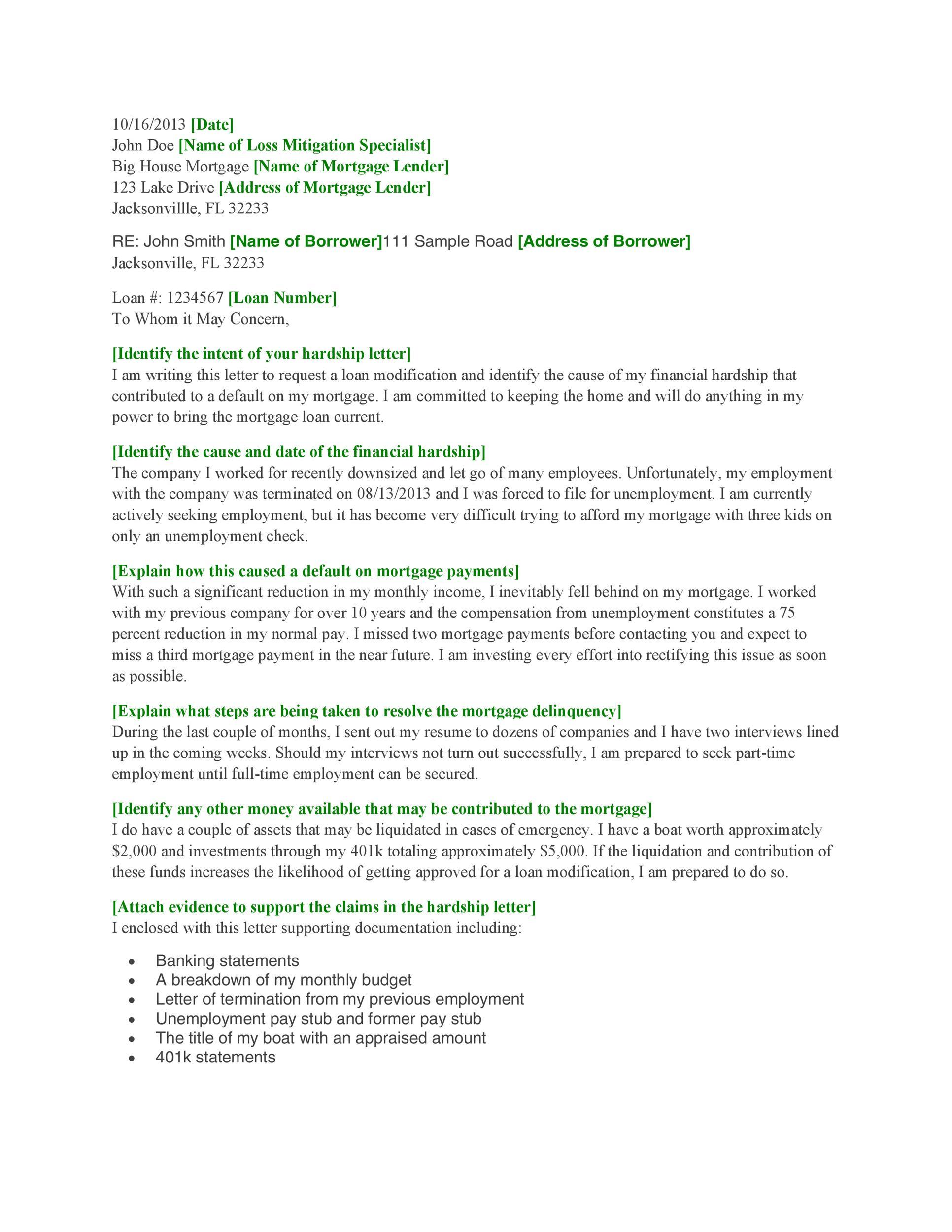 Hardship Letter For School