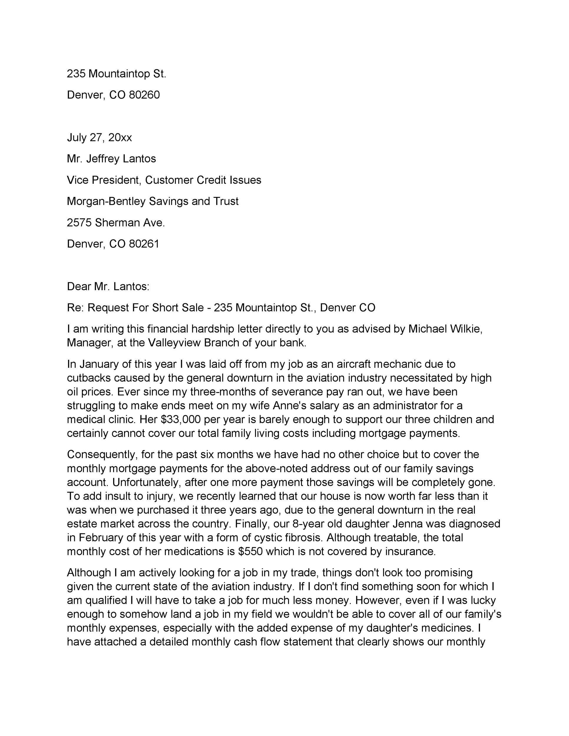 Example Hardship Letter To Mortgage Company from templatelab.com