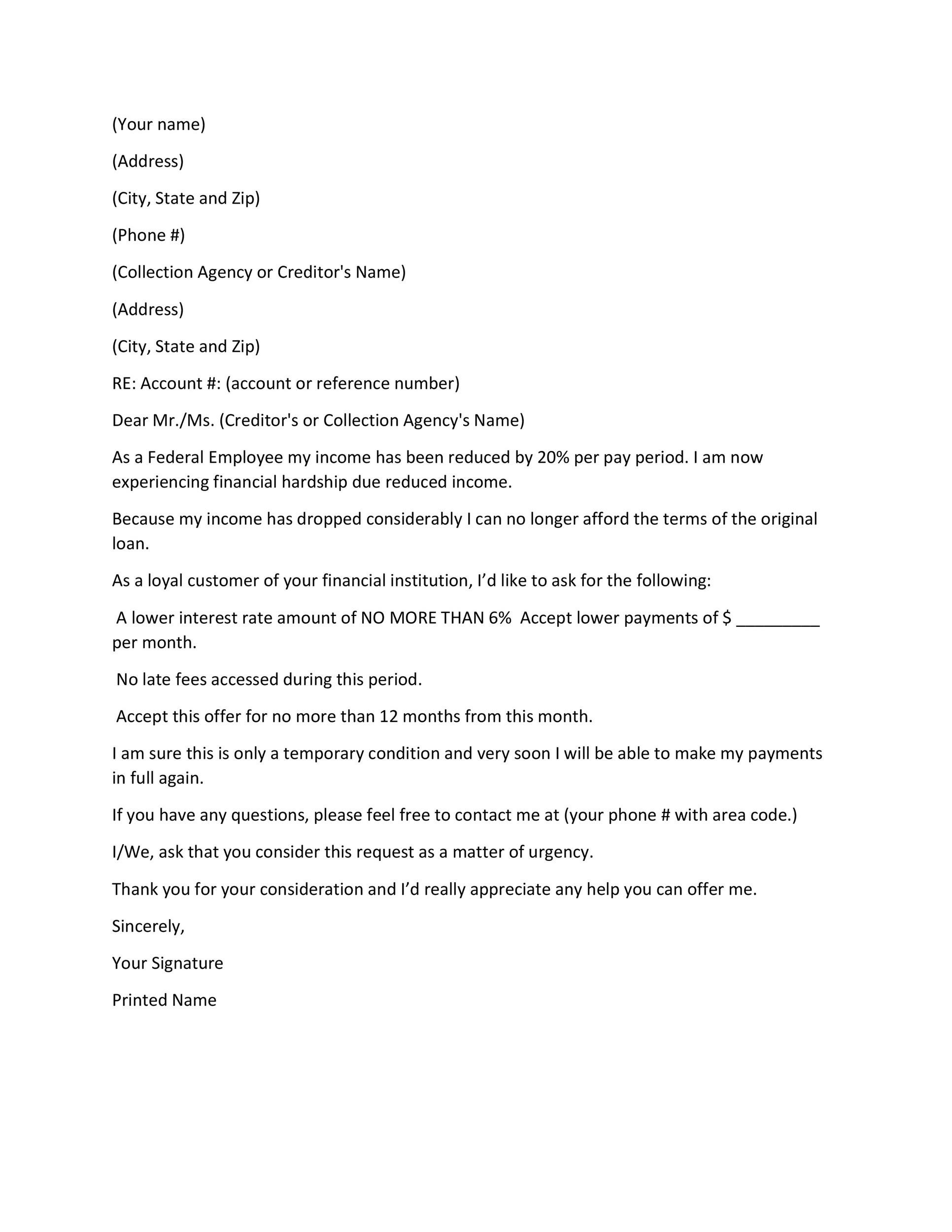 Free Hardship Letter Template 26