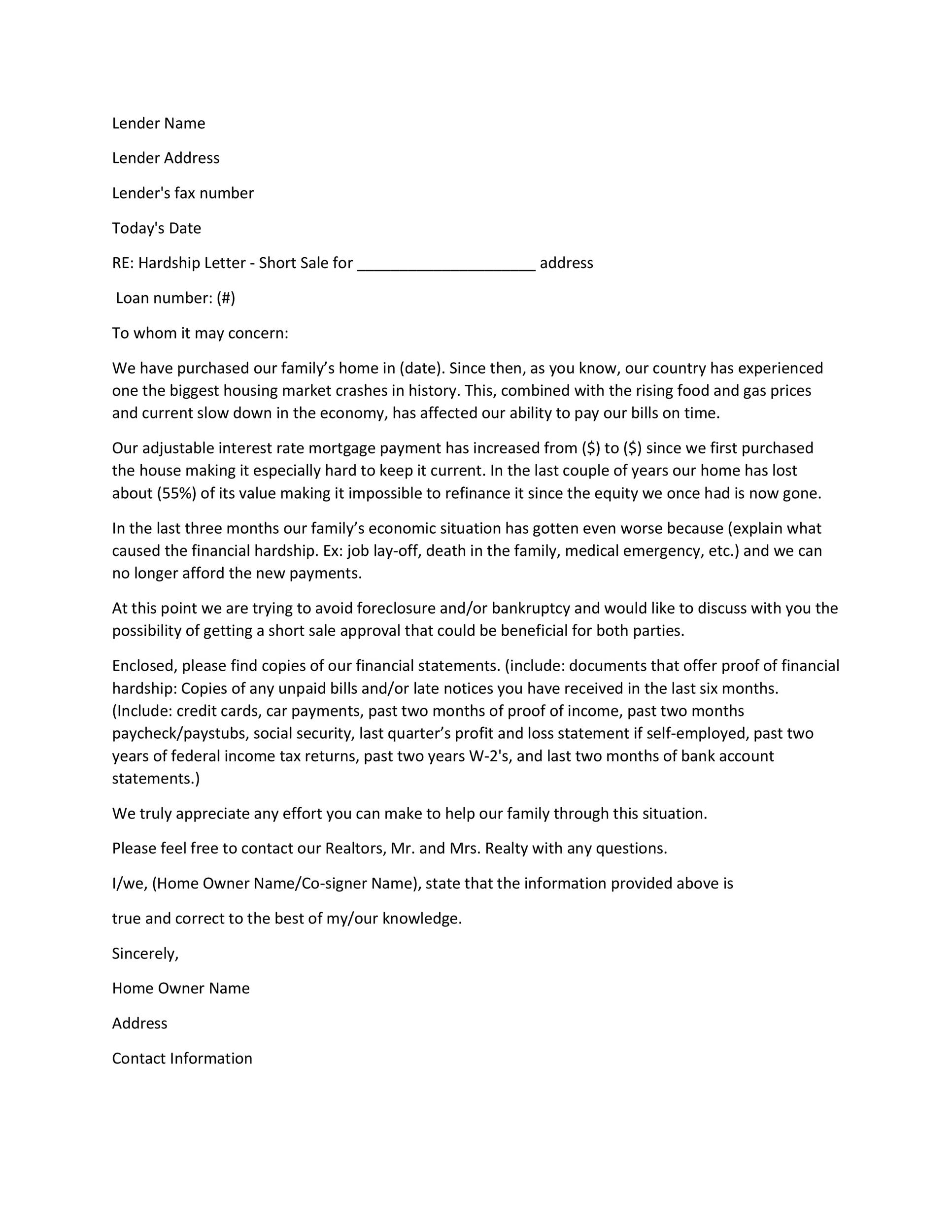 Financial Hardship Letters Financial Hardship Letter Template