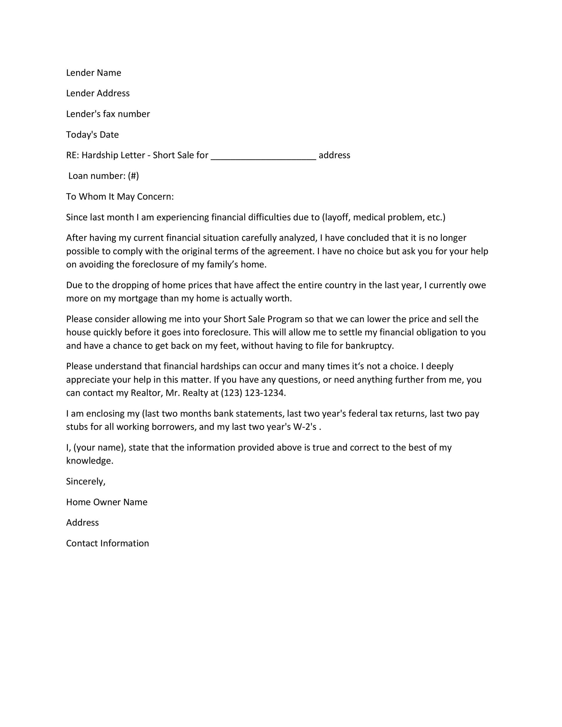 Loss Run Request Letter.35 Simple Hardship Letters Financial For Mortgage For