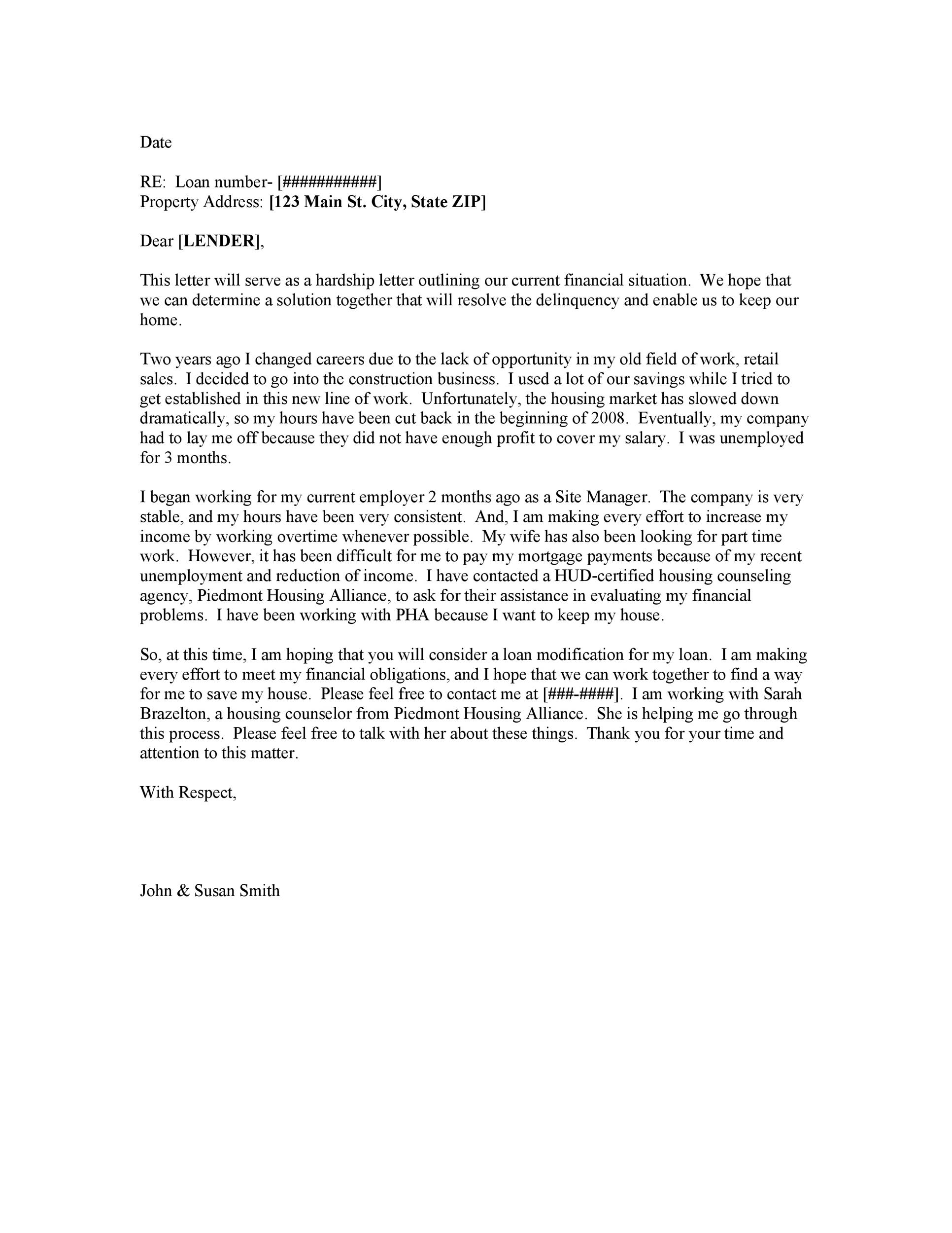 Free Hardship Letter Template 30