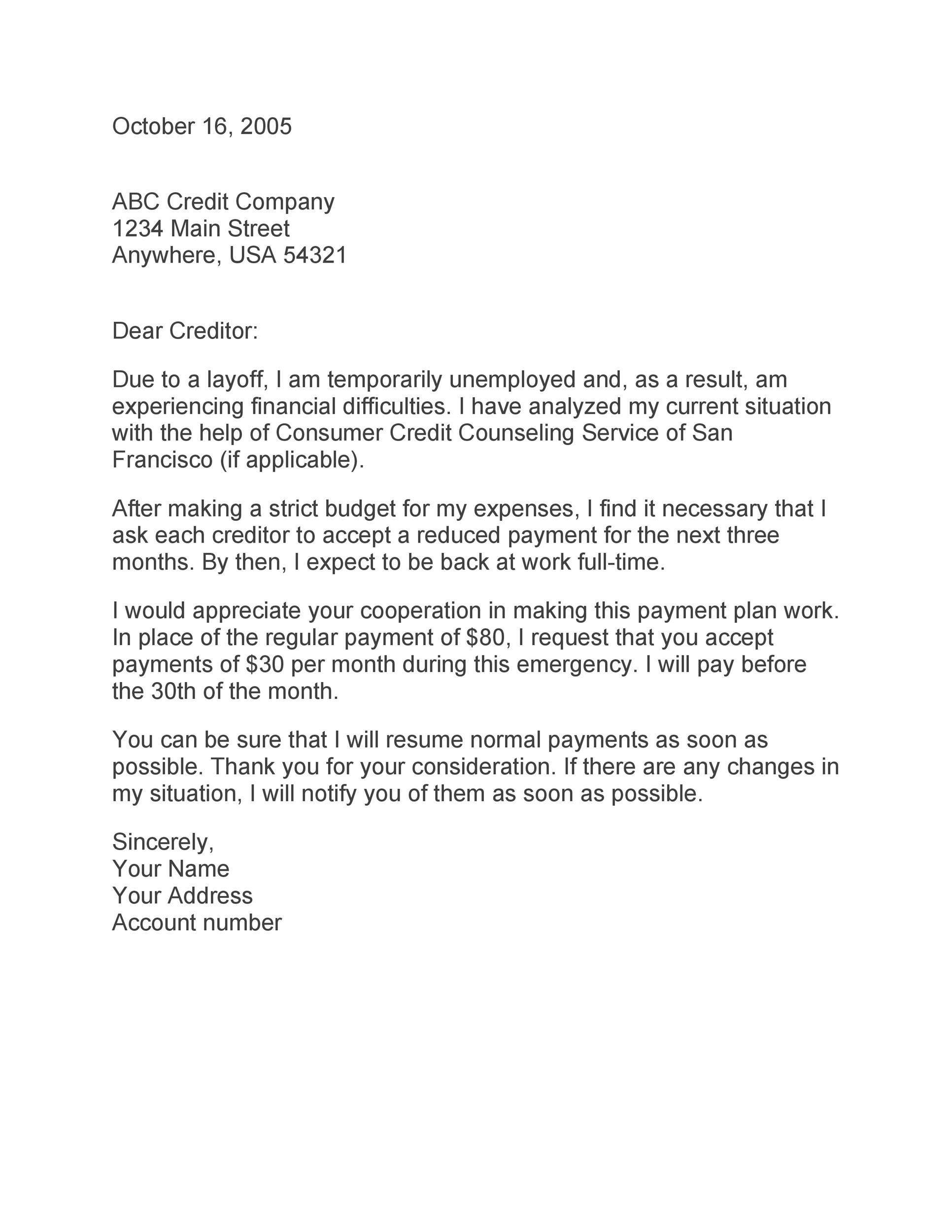 Sample Letter To Creditors  Docoments Ojazlink