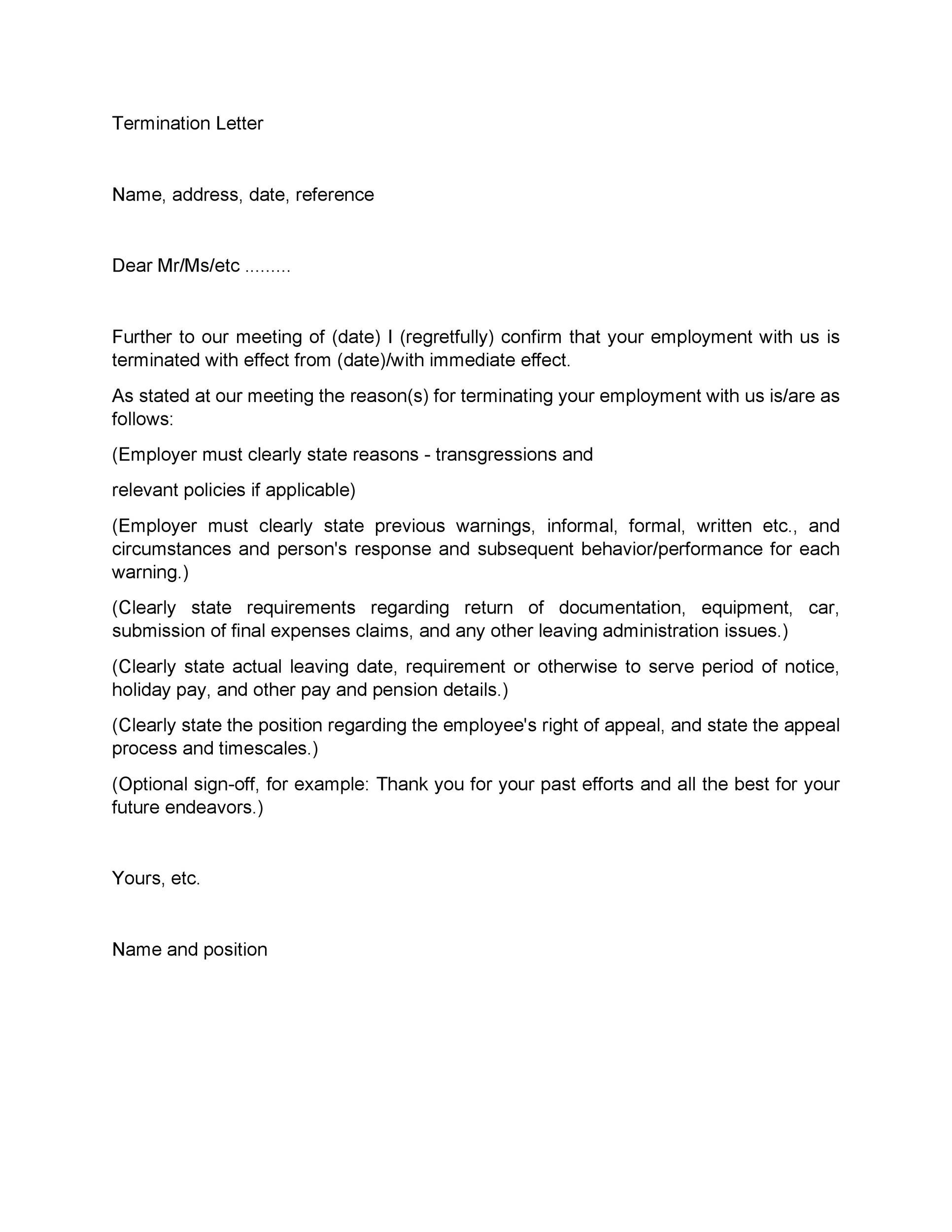 Sample Letter Of Termination Employment Contract Due To Poor