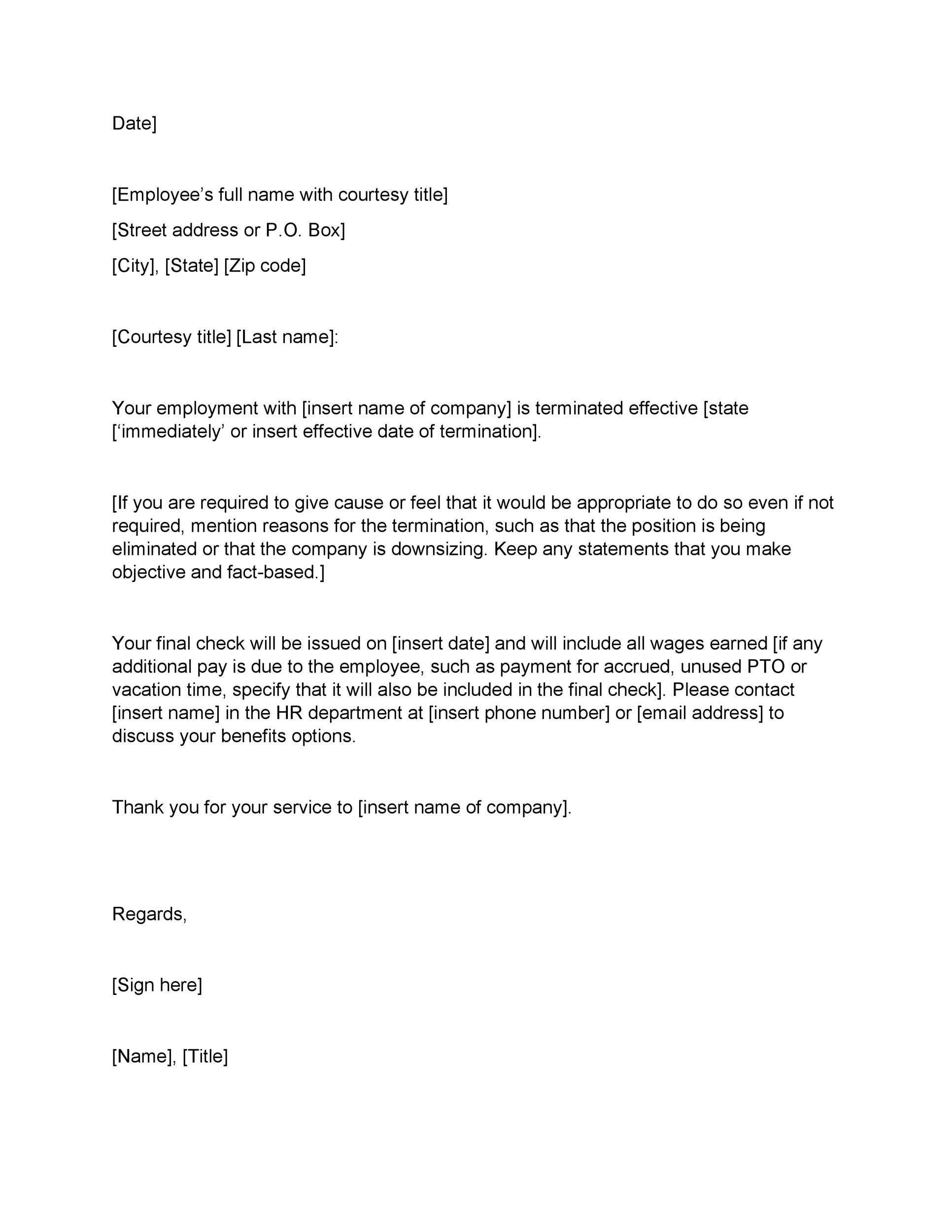 Printable Termination Letter Template 02 Regard To Employment Termination Letter Template