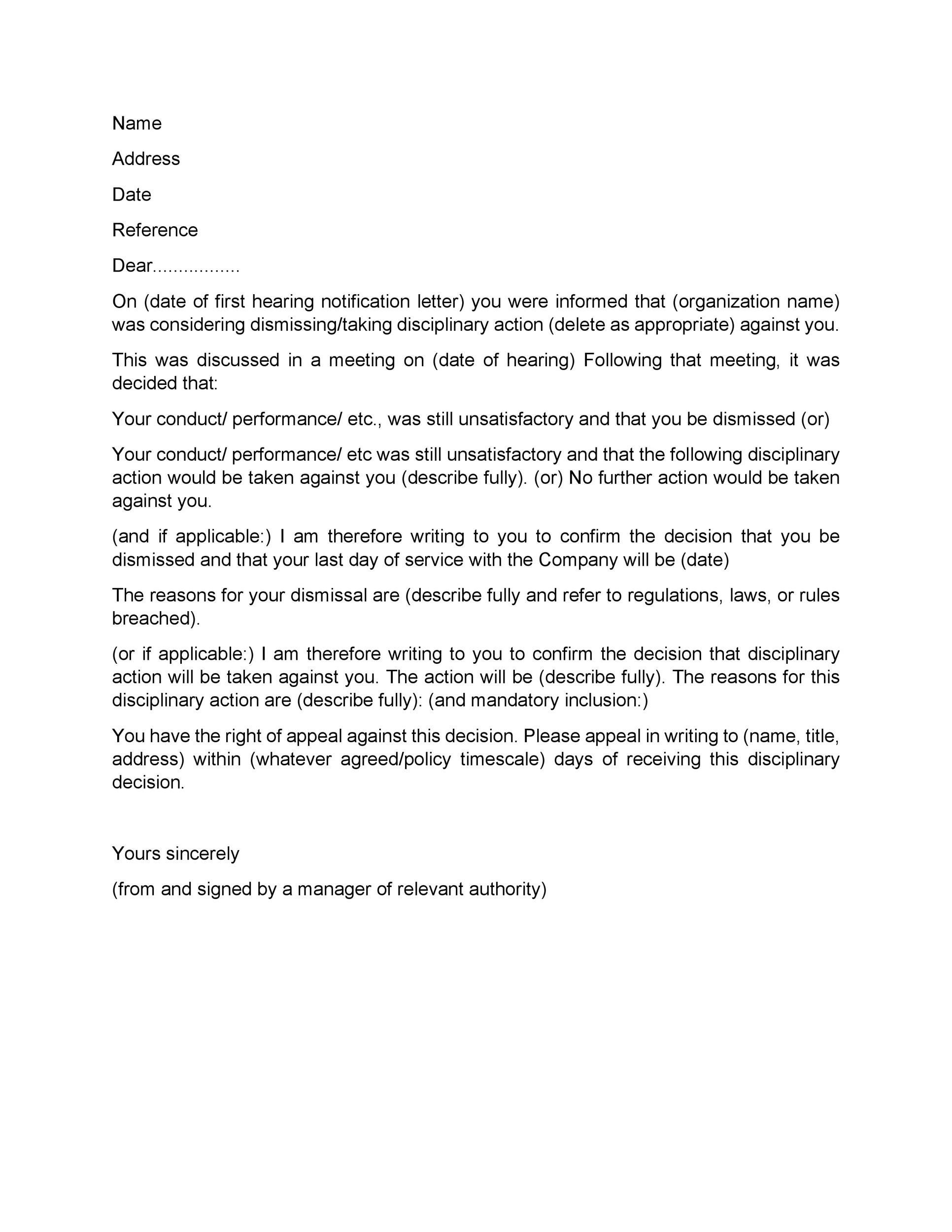 sample letter for termination of employment