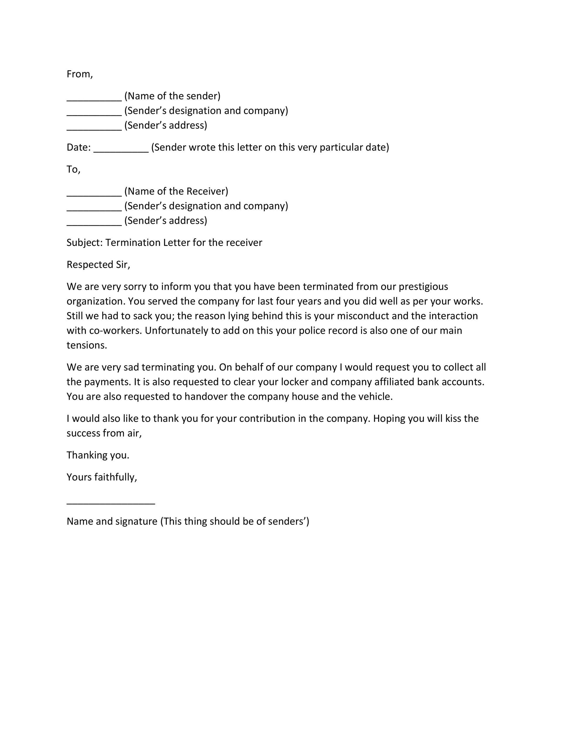 Free Termination Letter Template 06
